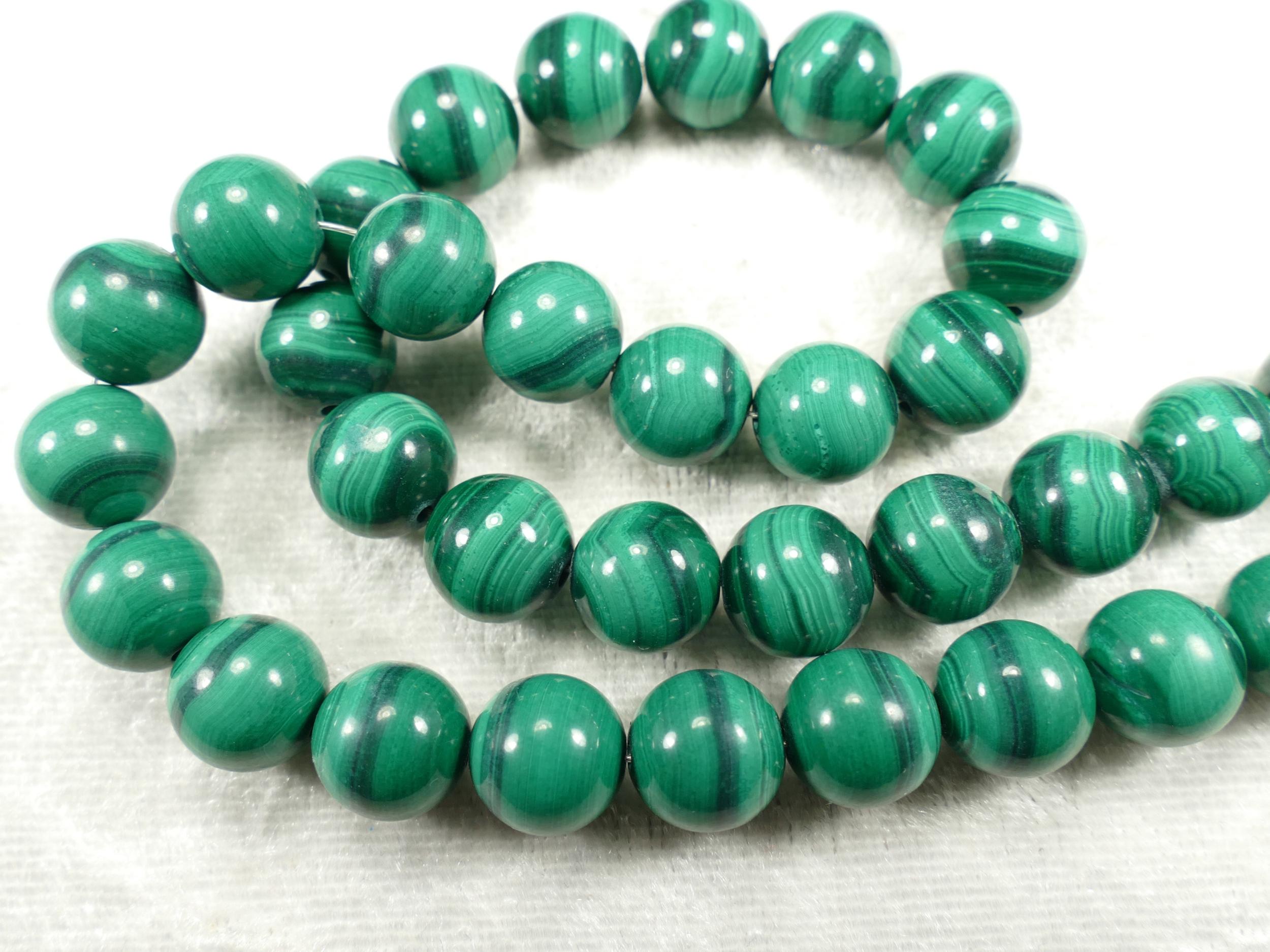 9.7/10mm x6 Perles de Malachite naturelle en boule / ronde lisse (#AC645)
