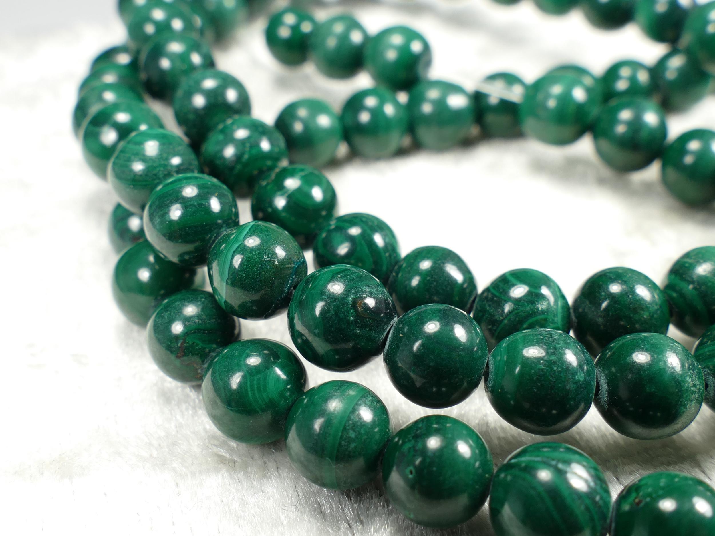 7.7/7.9mm x8 Perles de Malachite naturelle en boule / ronde lisse d\'Afrique (#AC654)