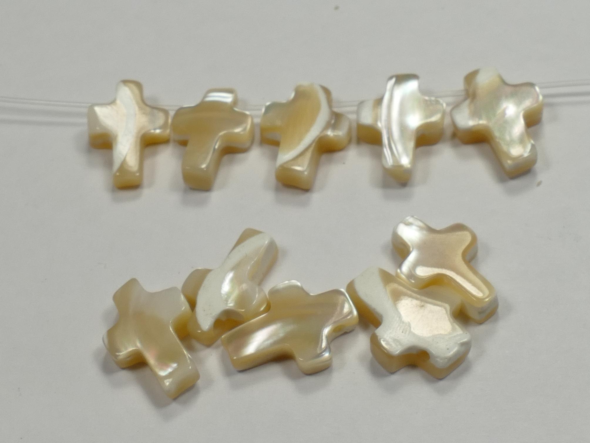 x2pc de Nacre blanche - beige naturelle en croix paire Chine (#AC161)
