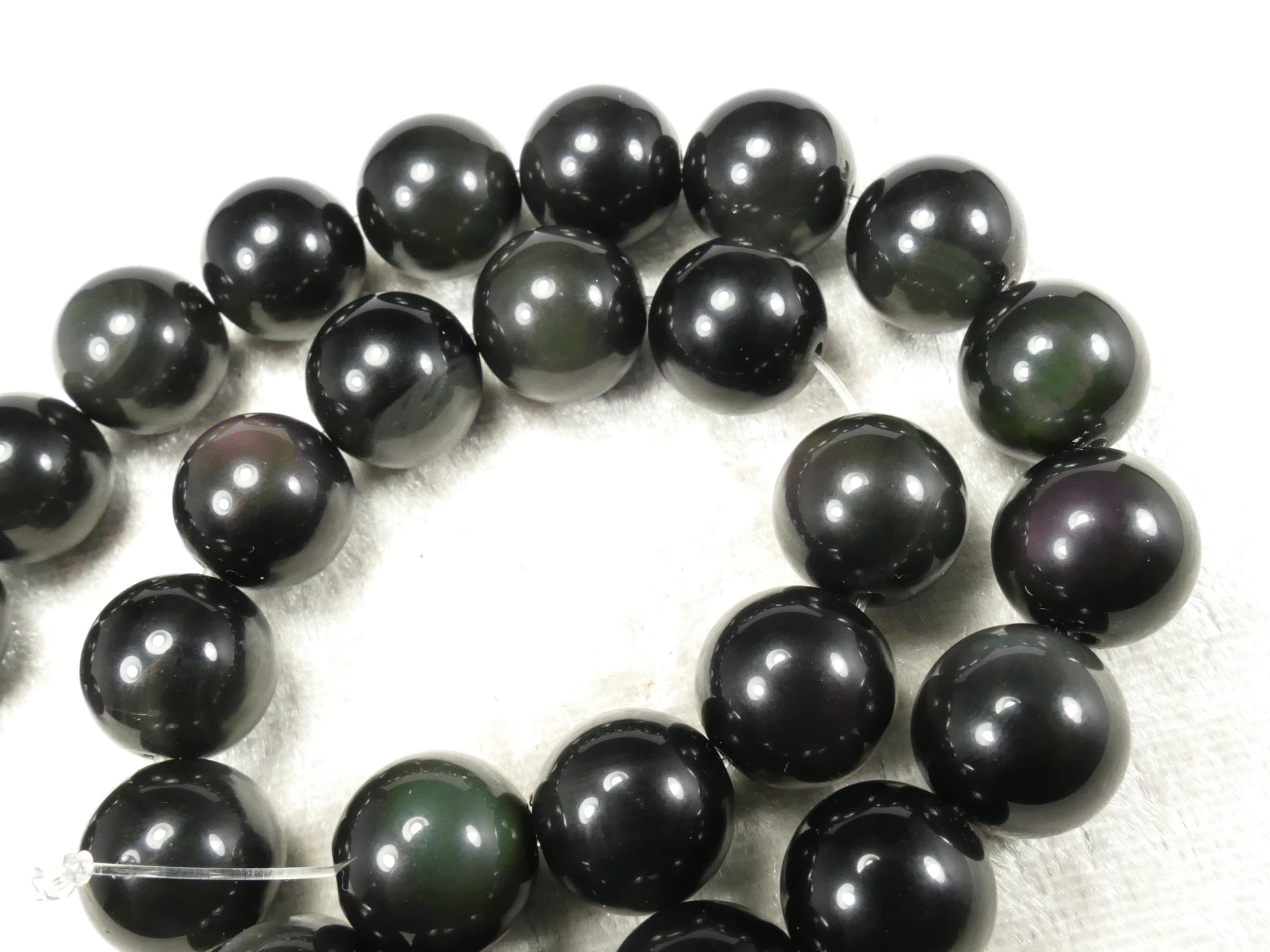 12mm x10 Perles d\'Obsidienne naturelle arc-en-ciel en boule / ronde lisse du Mexique (#AC653)