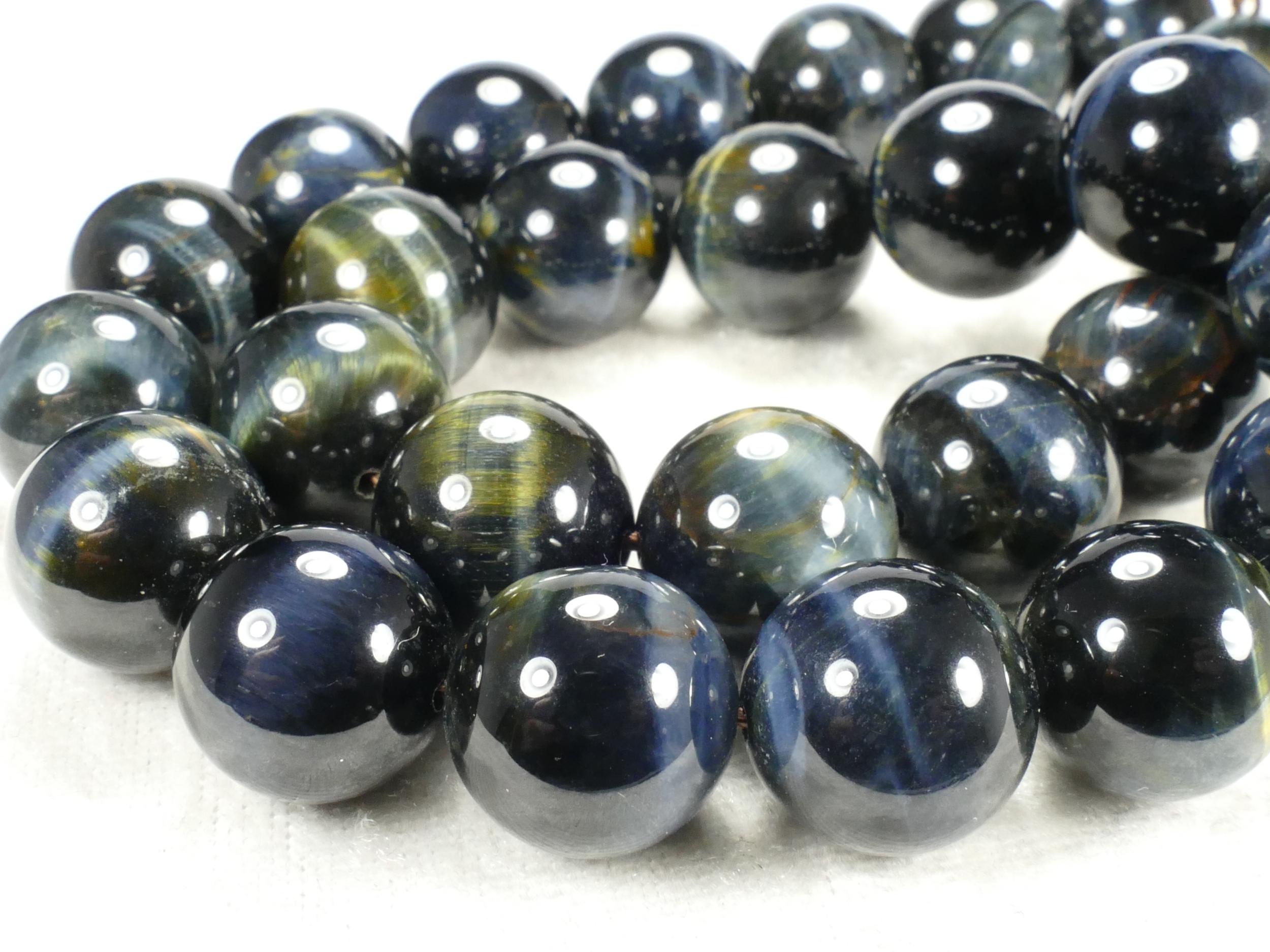 14.3/14.5mm Perle d\'Oeil-de-faucon naturel en boule / ronde lisse d\'Inde x4pc (#AC514)
