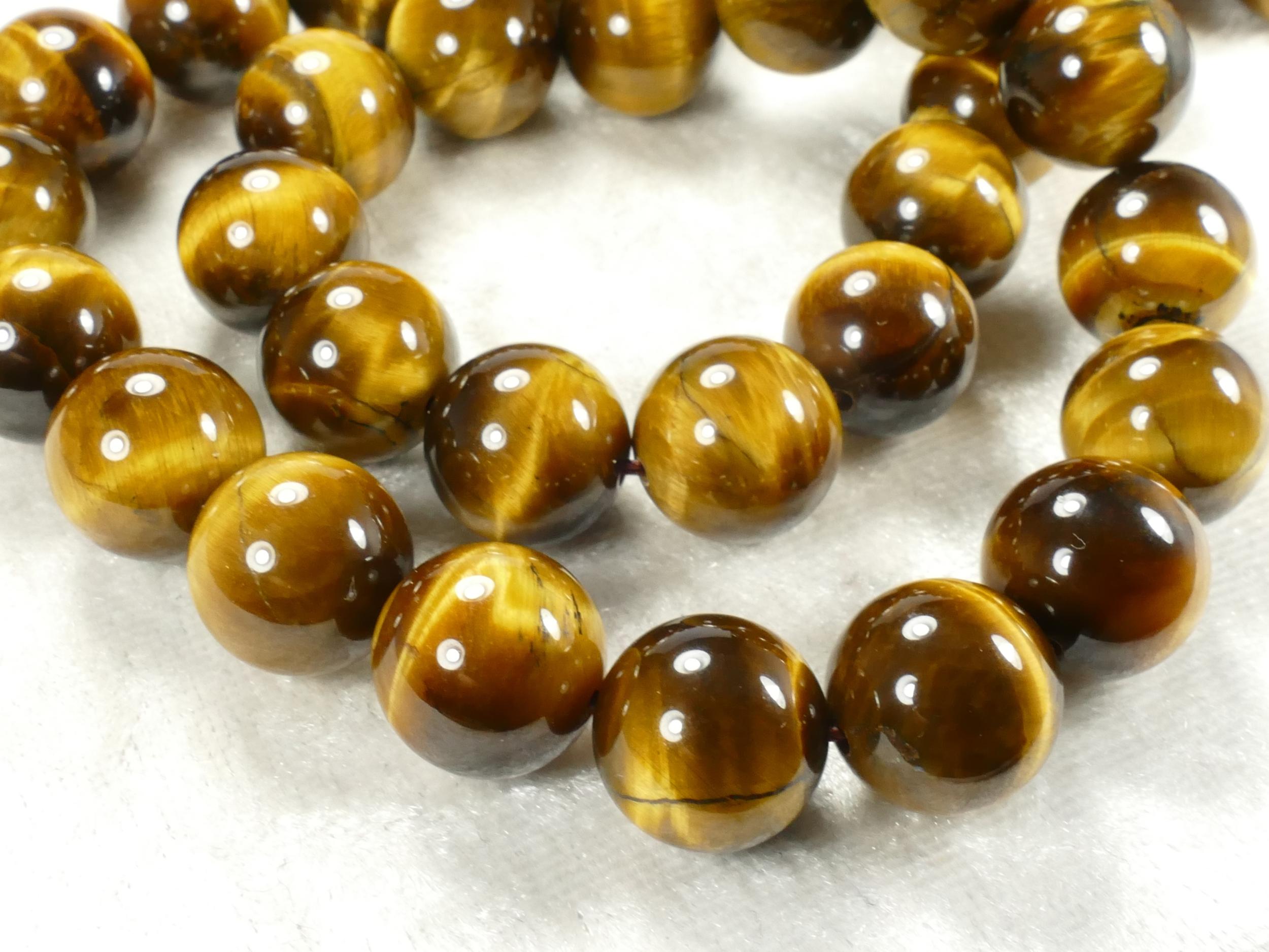 12.3/12.7mm Perle d\'Oeil-de-tigre naturel en boule / ronde d\'Inde x8pc (#AC510)