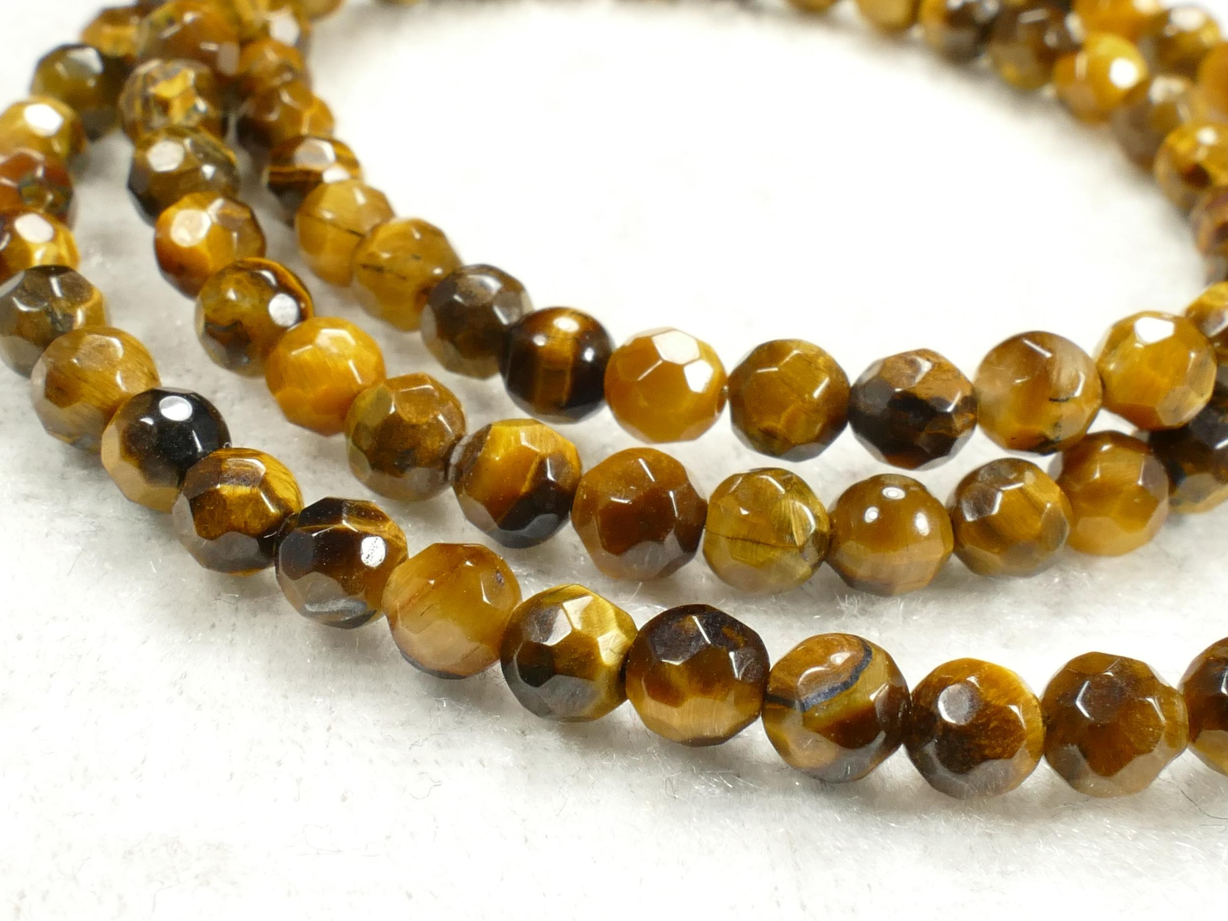 4.7mm Perle d\'Oeil-de-tigre naturel en boule / ronde facettée d\'Inde x28pc (#AC513)