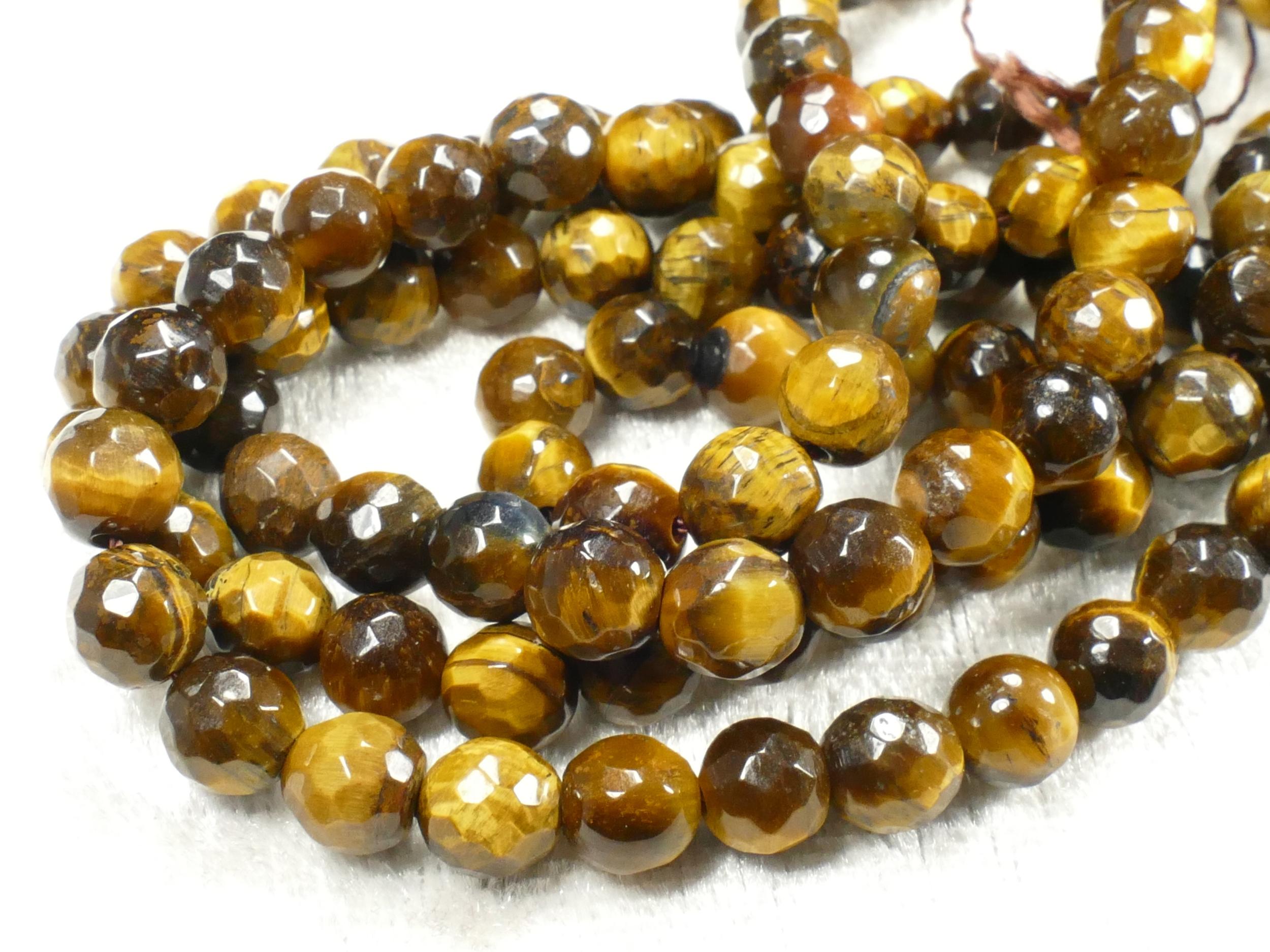 6.3/6.6mm Perle d\'Oeil-de-tigre naturel en boule / ronde facettée d\'Inde x20pc (#AC512)