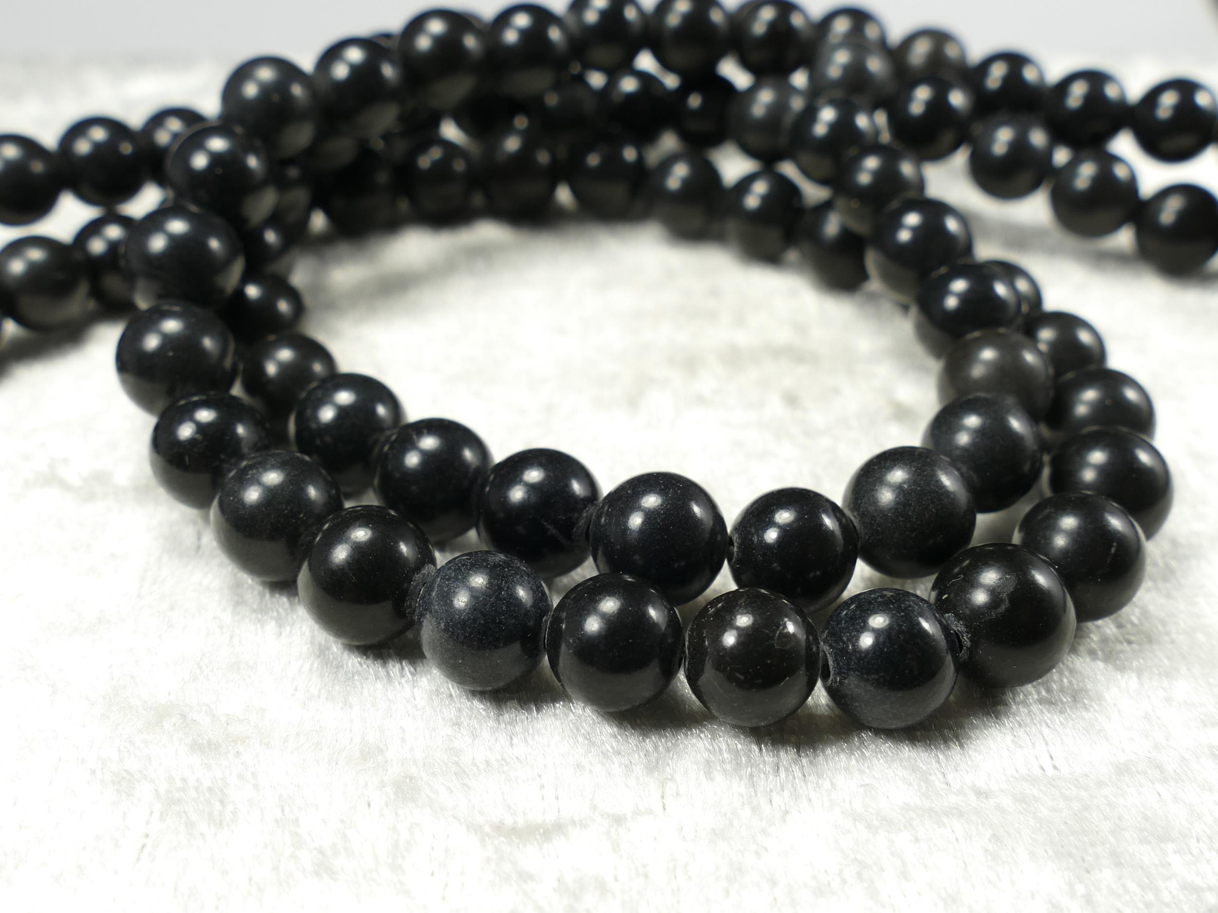 7.8/8.4mm x24 Perles d\'Onyx (Agate) naturel boule / ronde noir (#AC658)