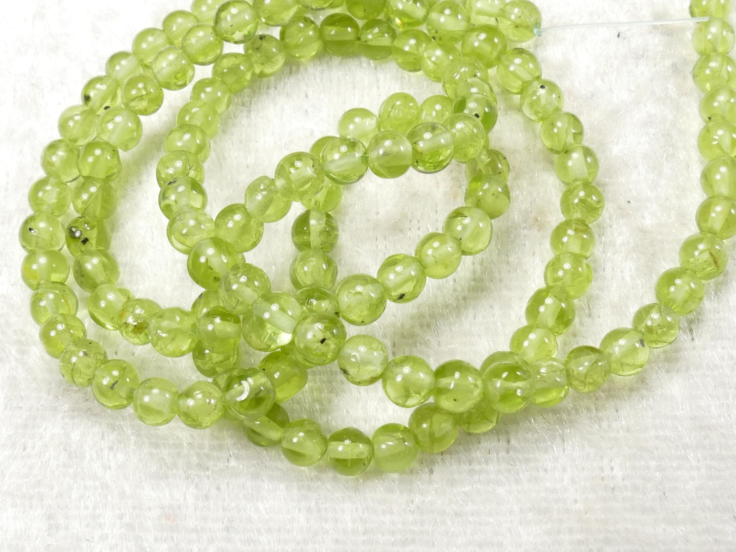 3.5/4mm Perles de Péridot naturel du Pakistan en boule lisse Olivine verte x17cm (6.7in) (#AC334)