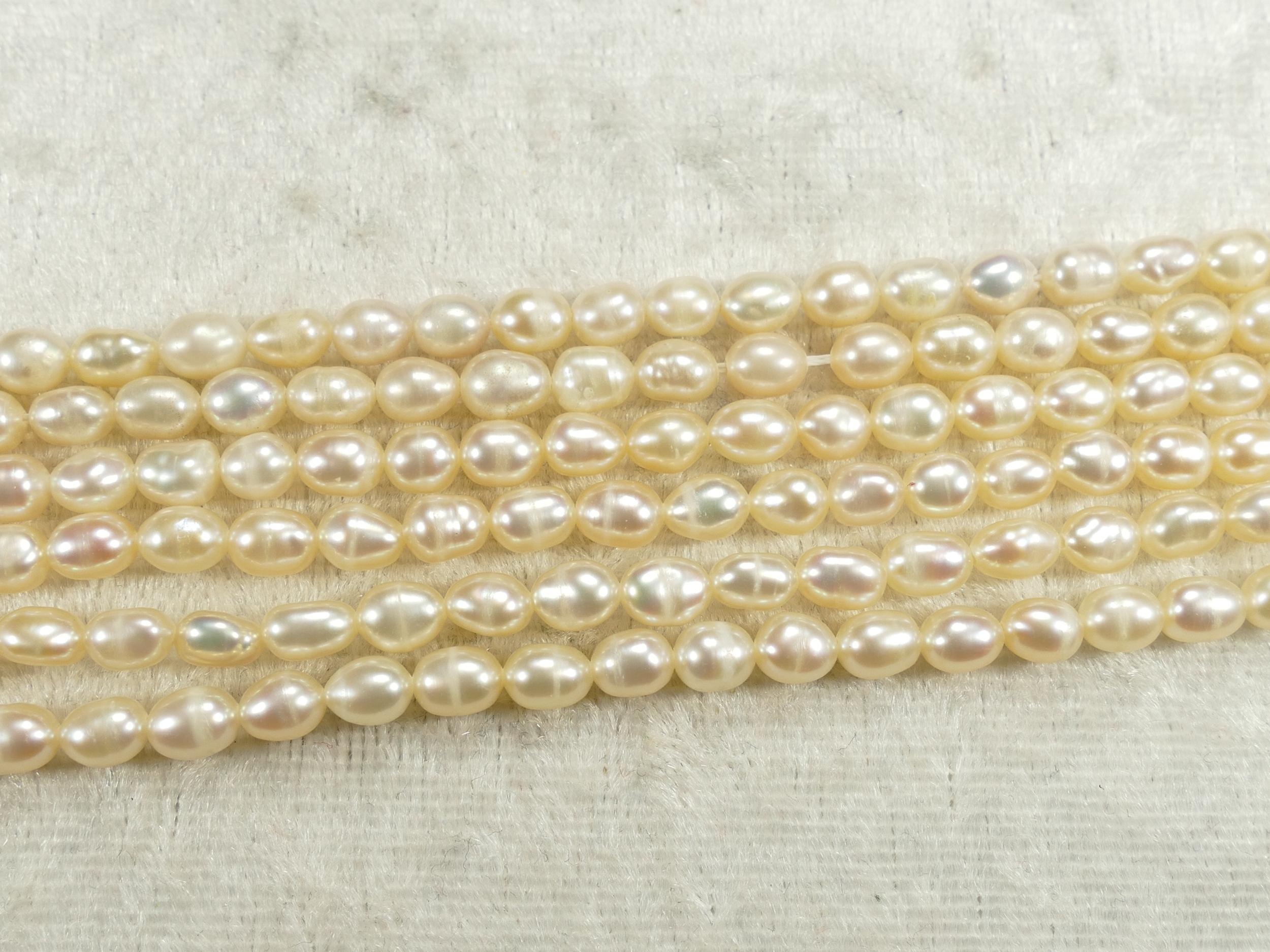 4x5.2mm x20cm (7.8inch) Perles de culture doré crème naturelle d\'eau douce ovale (#AC675)