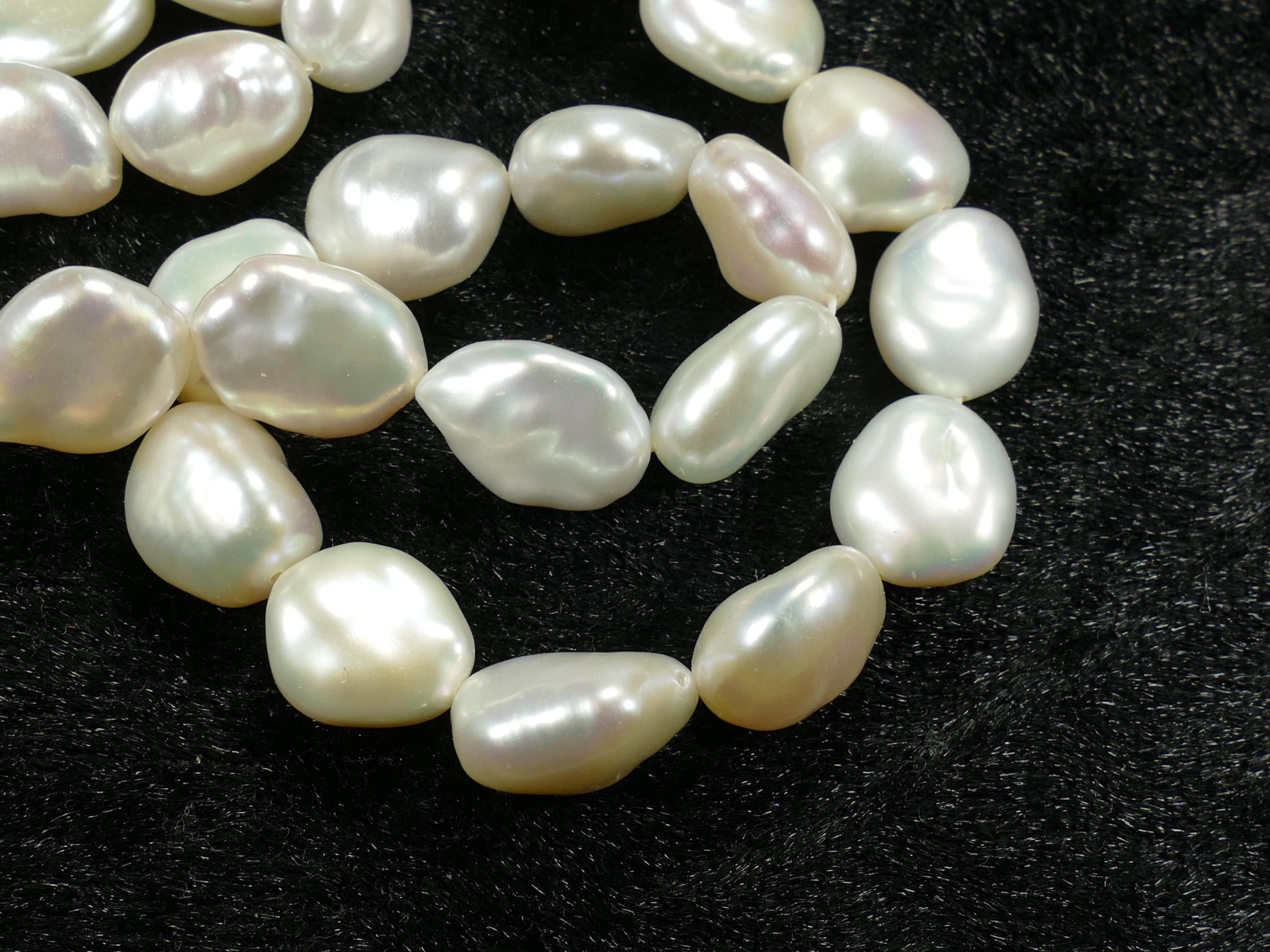 10/12mm Perle de culture blanche naturelle d\'eau douce en Keshi x8pc (#AC471)