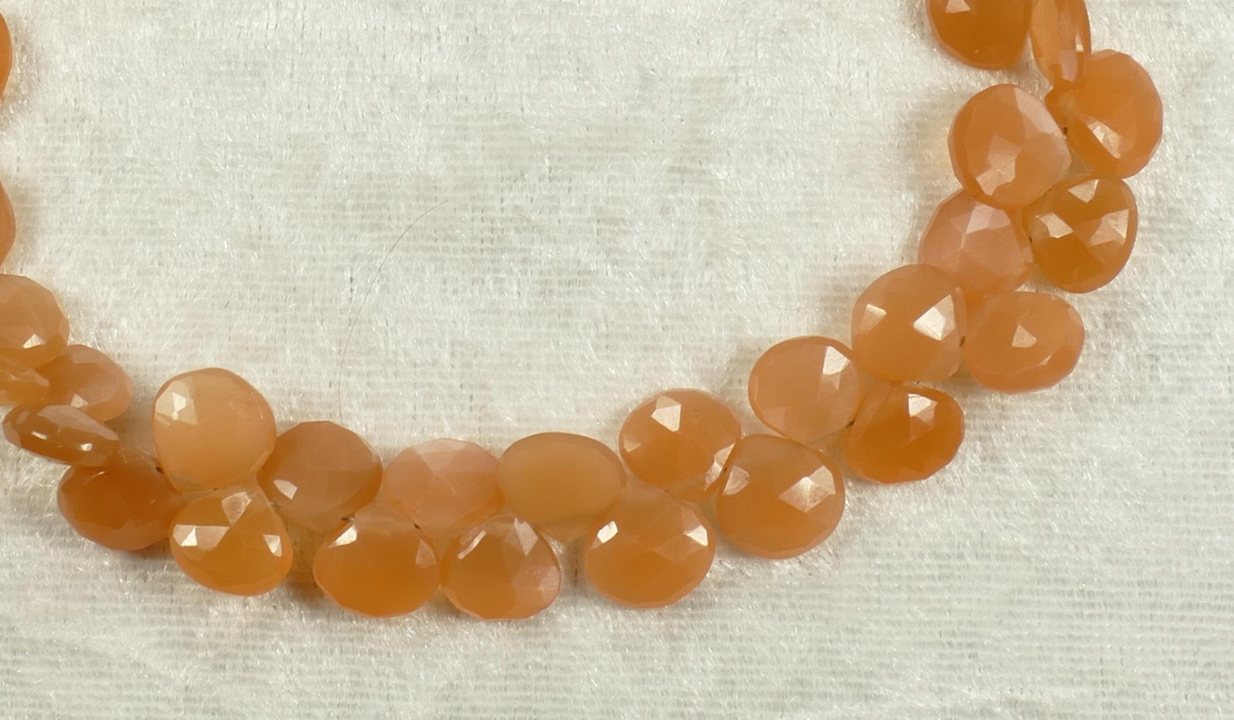 x6pc Perles de Pierre de lune naturelle orange en goutte facettée d\'Inde (#AC211)