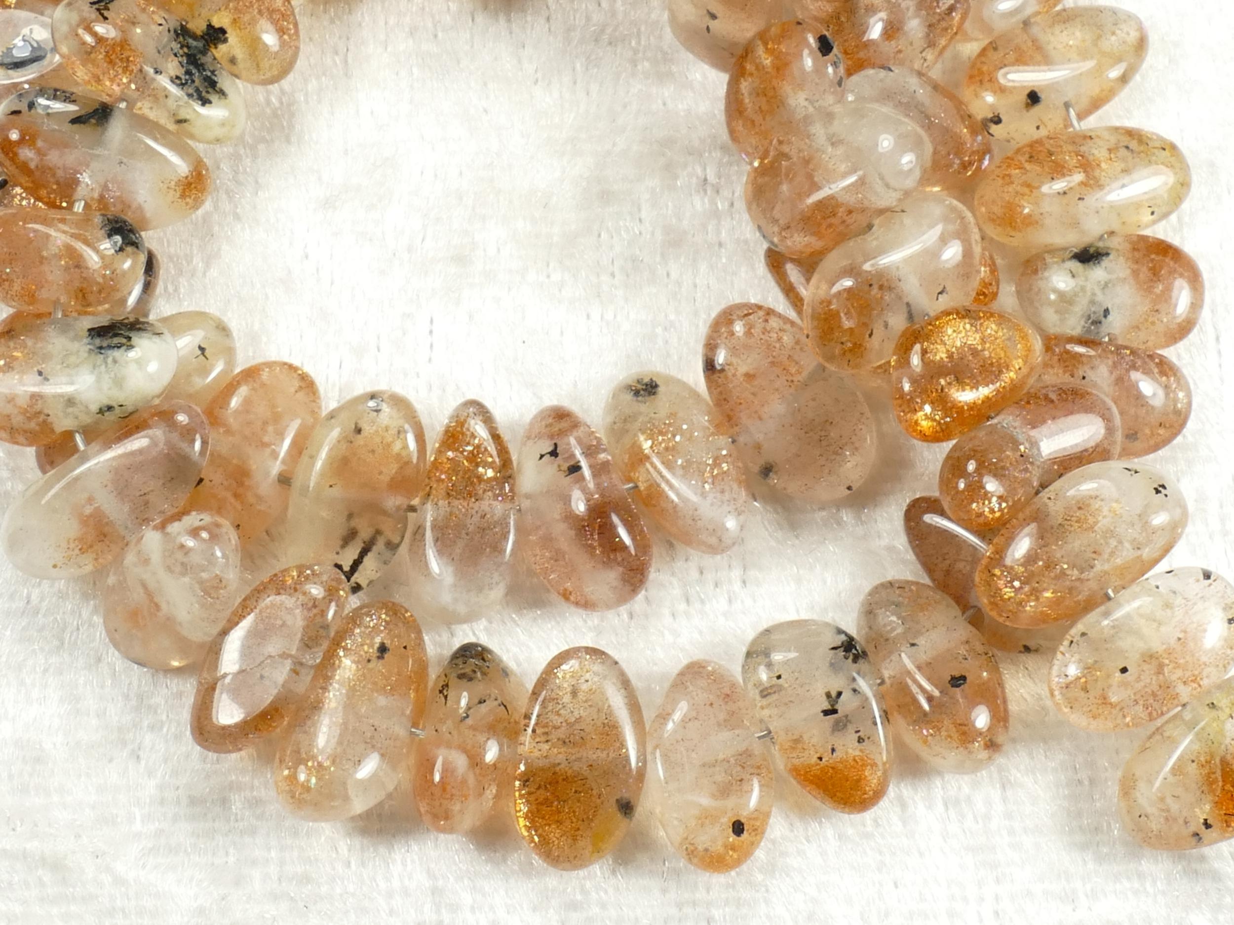 Perles de Pierre de soleil naturelle en ovale lisse transversal Inde x10cm (3.9inch) (#AC507)