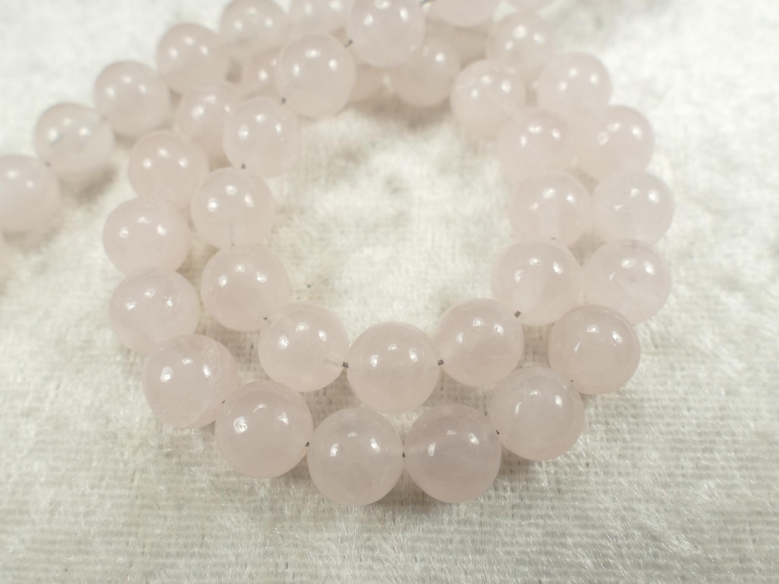 8.4mm x16 Perles de Quartz rose naturelle boule / ronde lisse (#AC657)