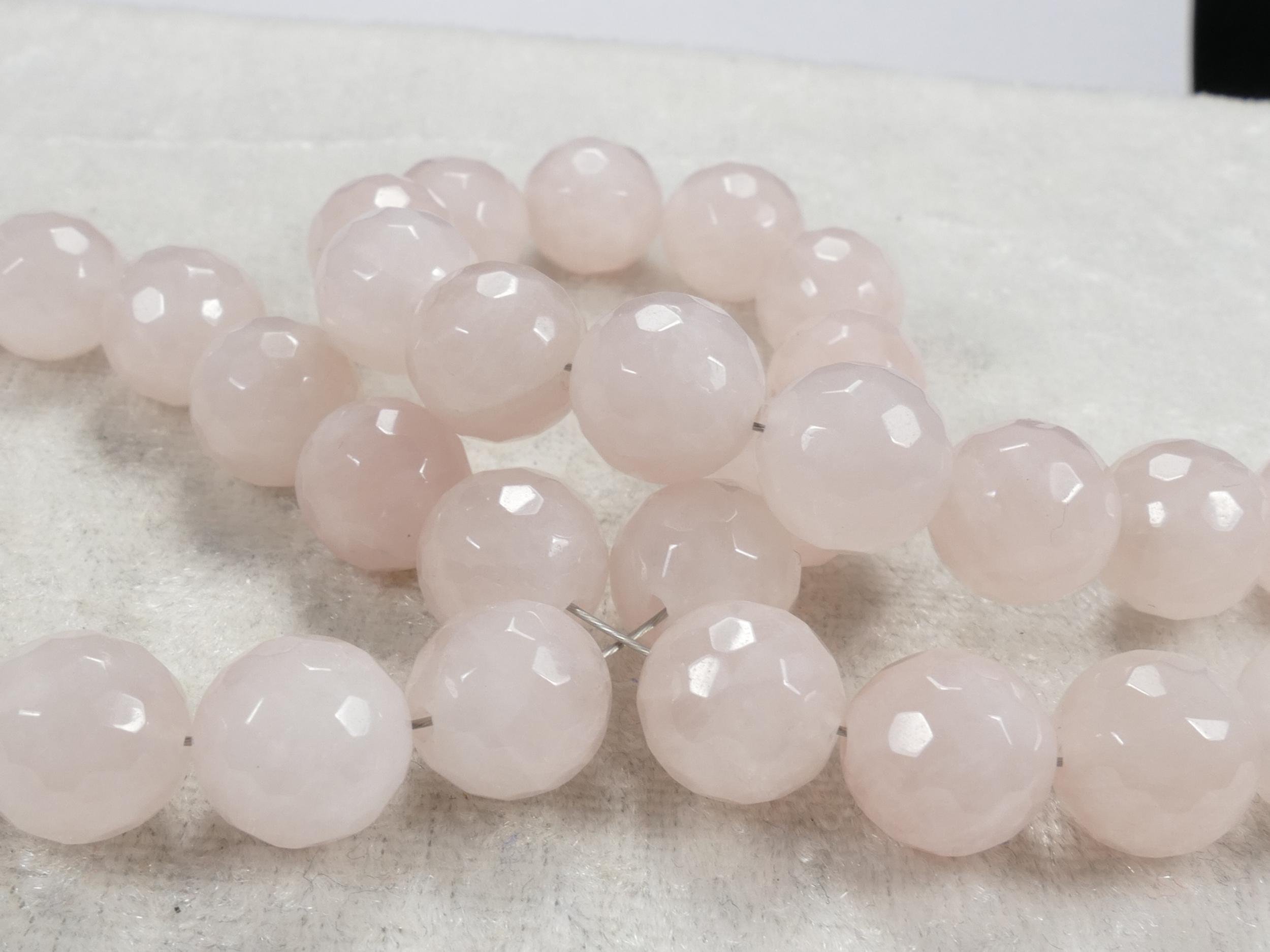 9.5/10mm x10 Perles de Quartz rose naturelle boule / ronde facettée du Brésil (#AC581)