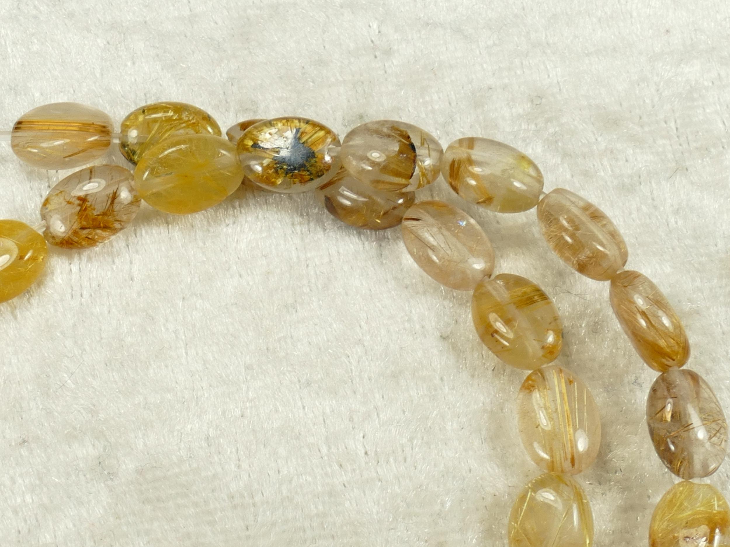 8.5x6.2mm x10 Perles de Quartz rutilé naturelle en ovale du Brésil (#AC508)