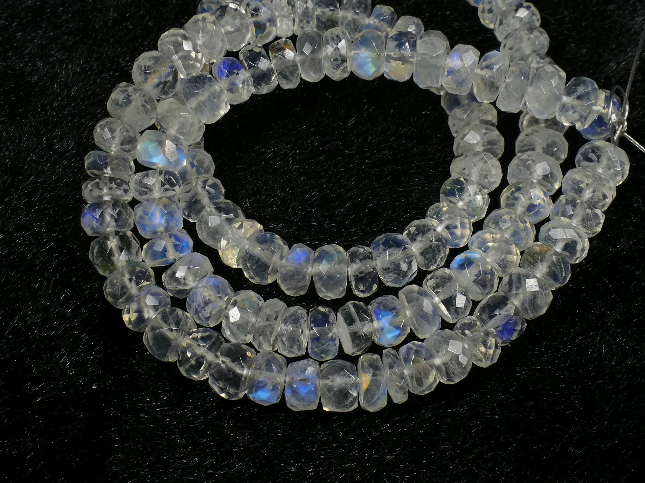 5.6/5.2mm x8pc Perles de Pierre de lune naturelle arc-en-ciel précieuse rondelle facettée (#AC453)