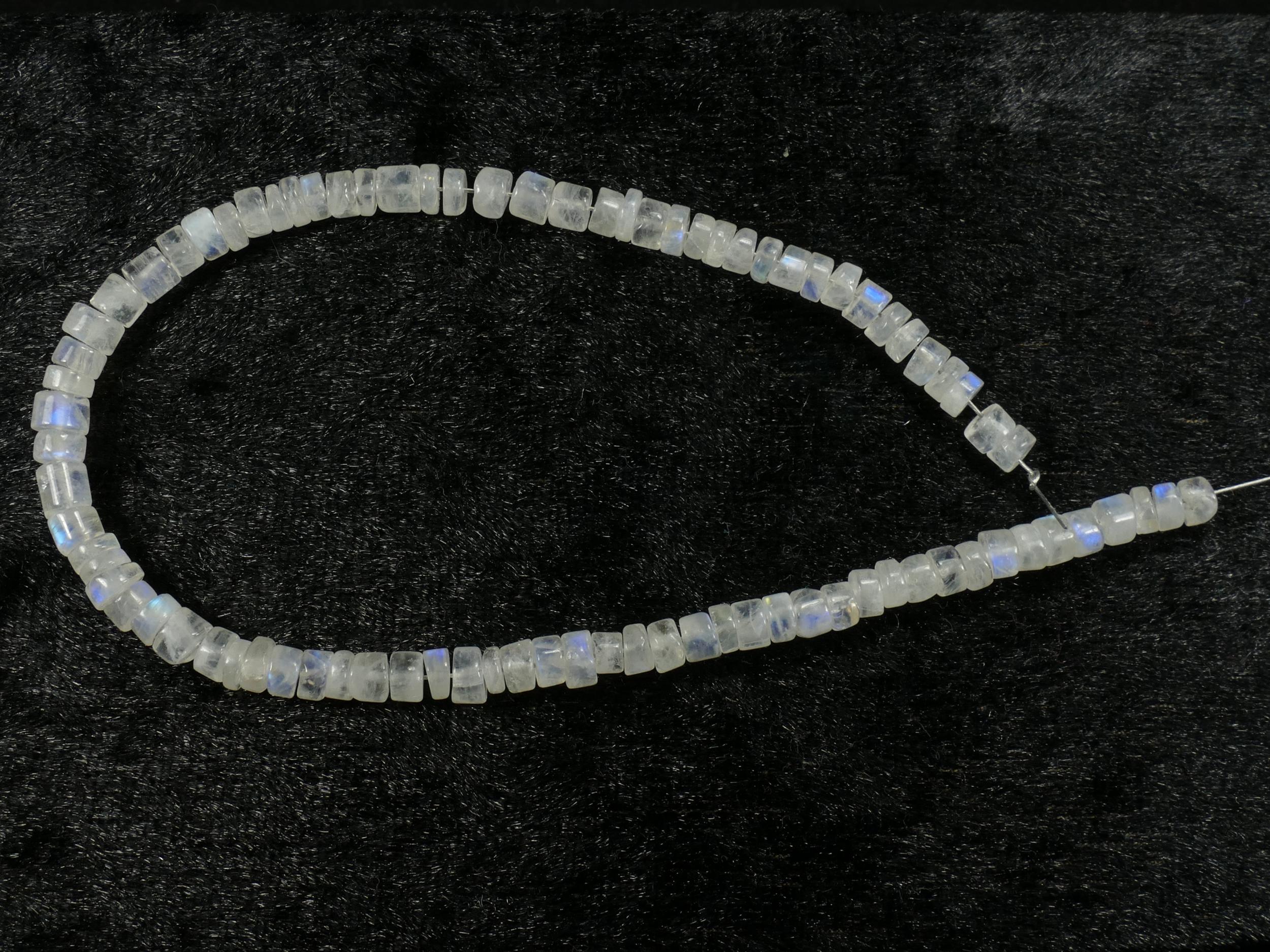 21.5cm Perles de Pierre de lune blanche arc-en-ciel naturelle tube/rondelle 3.8/5mm d\'Inde (#PK373)