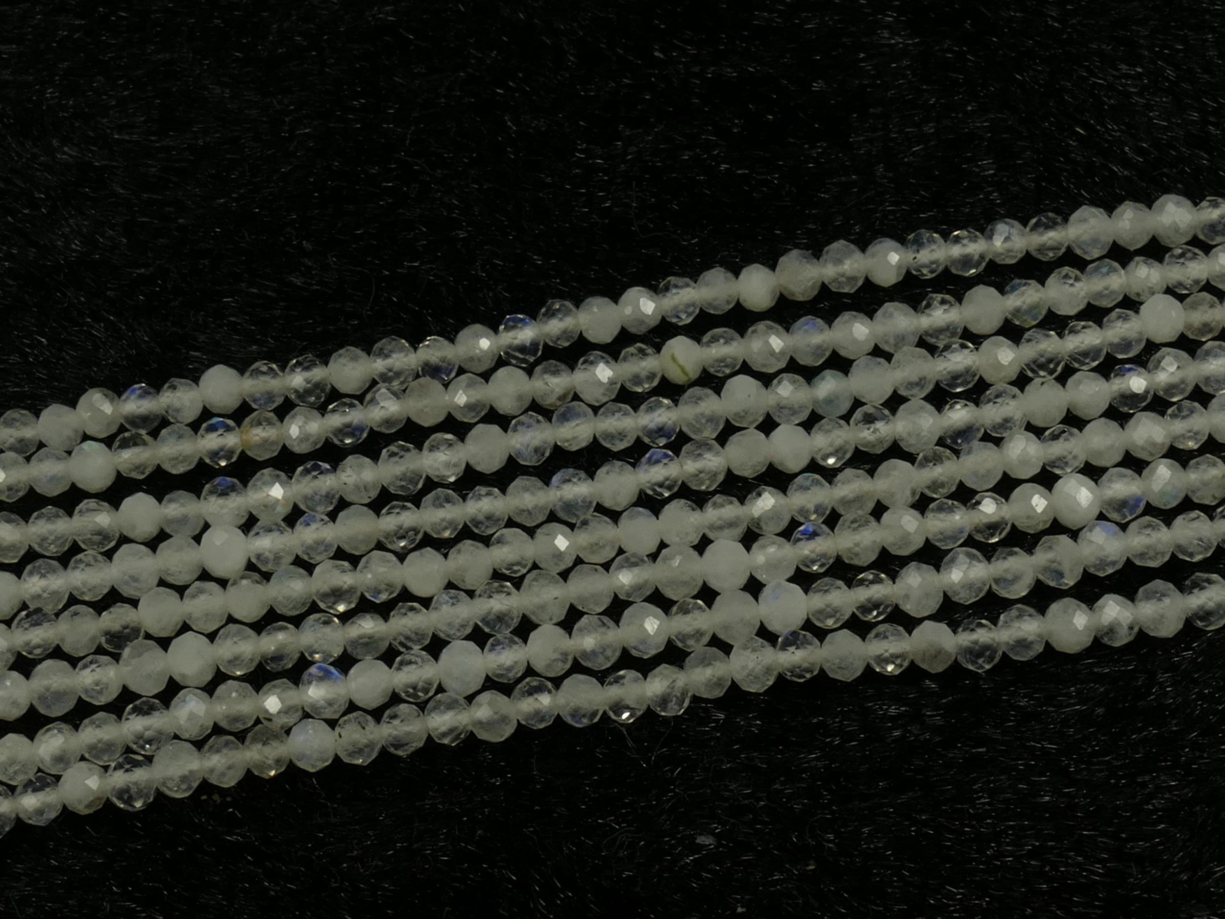 2.3/2.4mm Lot de perles de Pierre de lune naturelle arc-en-ciel en rondelle micro facettée Inde (#AC413)