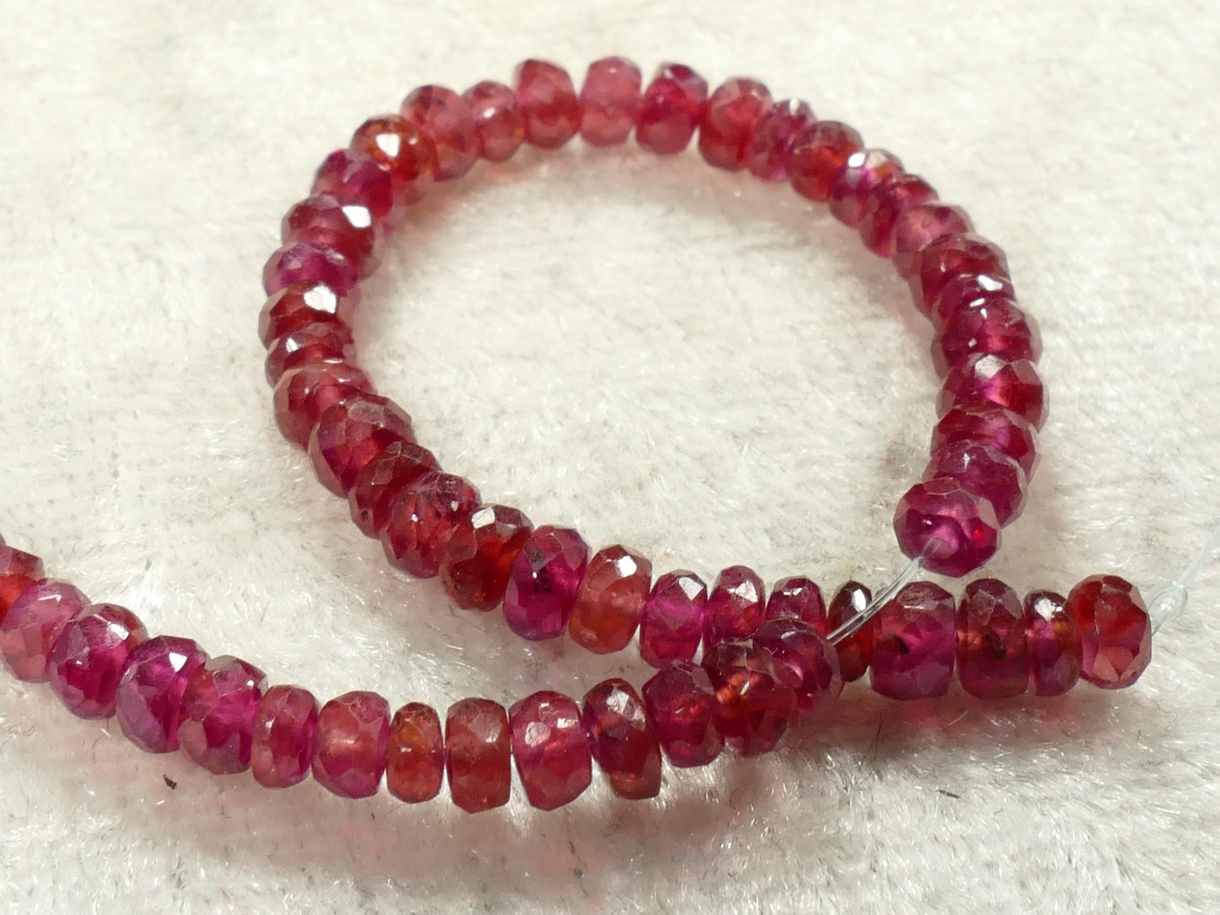 3/3.5mm Superbes perles de Rubis naturel en rondelle facettée x5cm (1.96inch) (#AC600P)