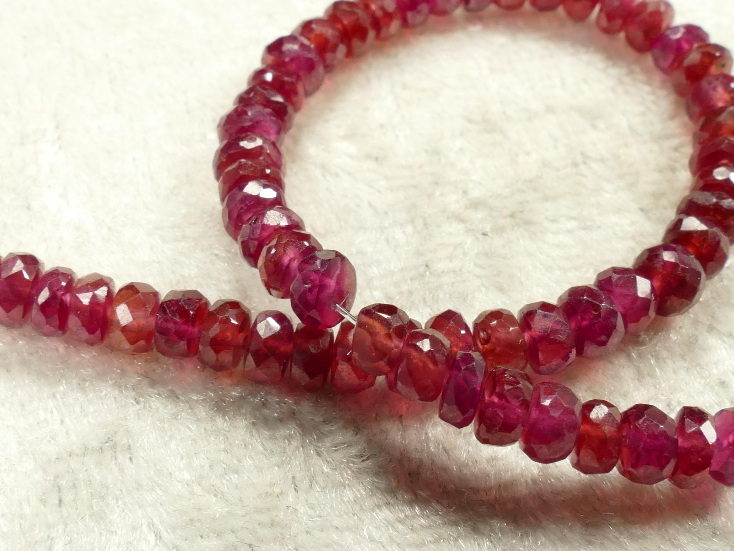 3.6/4mm Superbes perles de Rubis naturel en rondelle facettée x7 perles (#AC600M)