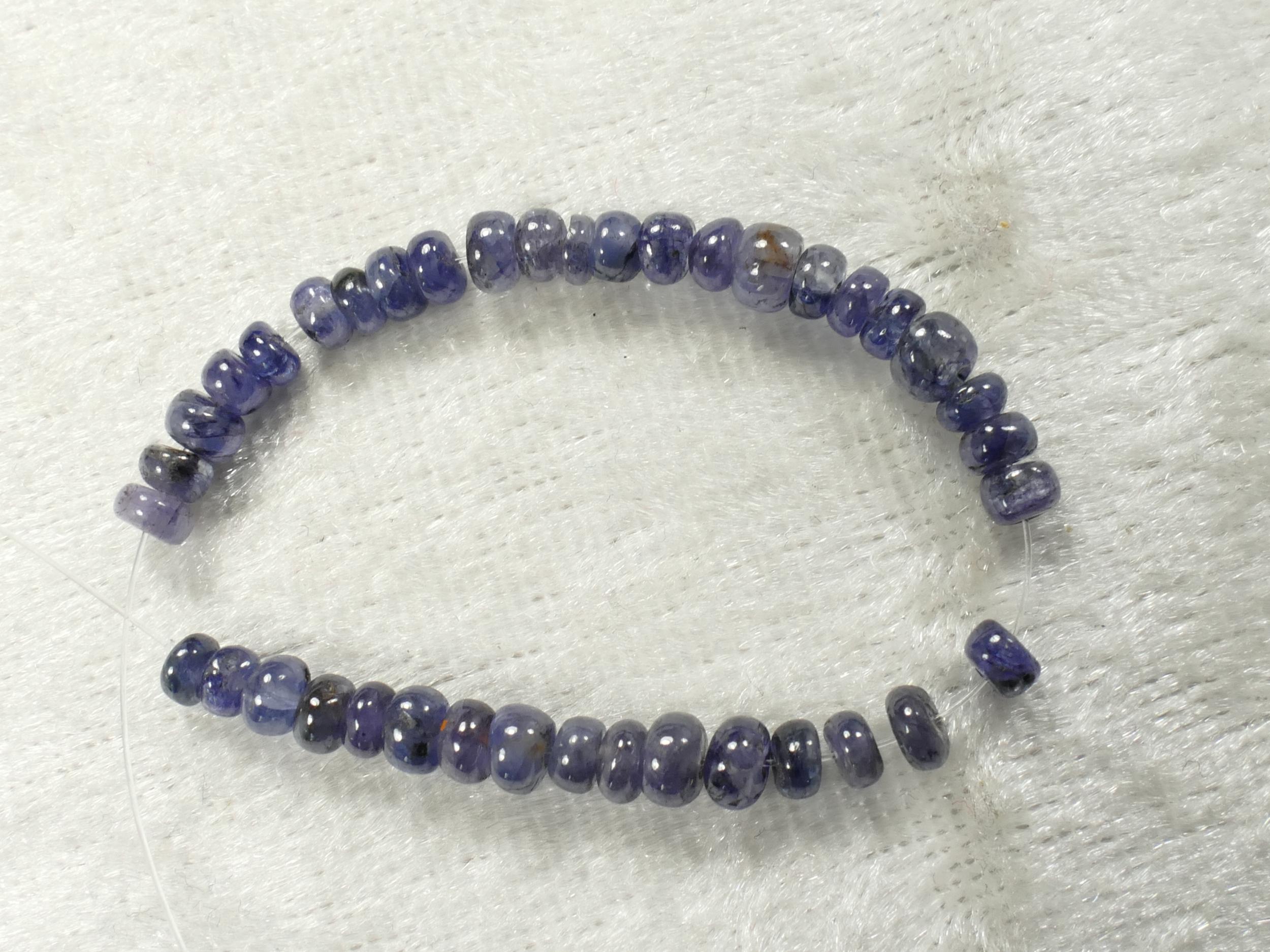 3.4/4mm Perles de Saphir bleu foncé naturel en rondelle lisse de Thaïlande (#PK654)
