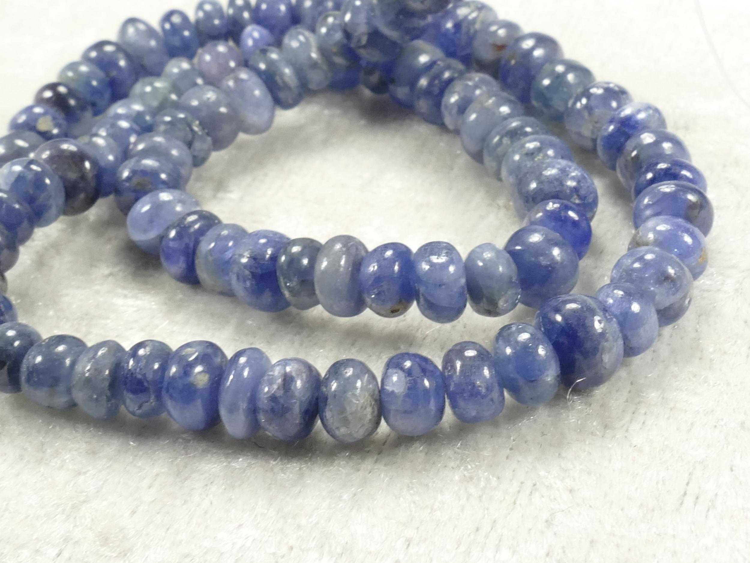4.6/5.6mm Perles de Saphir bleu naturel en rondelle lisse de Myanmar Birmanie x5cm (1.96inch) (#AC228A)