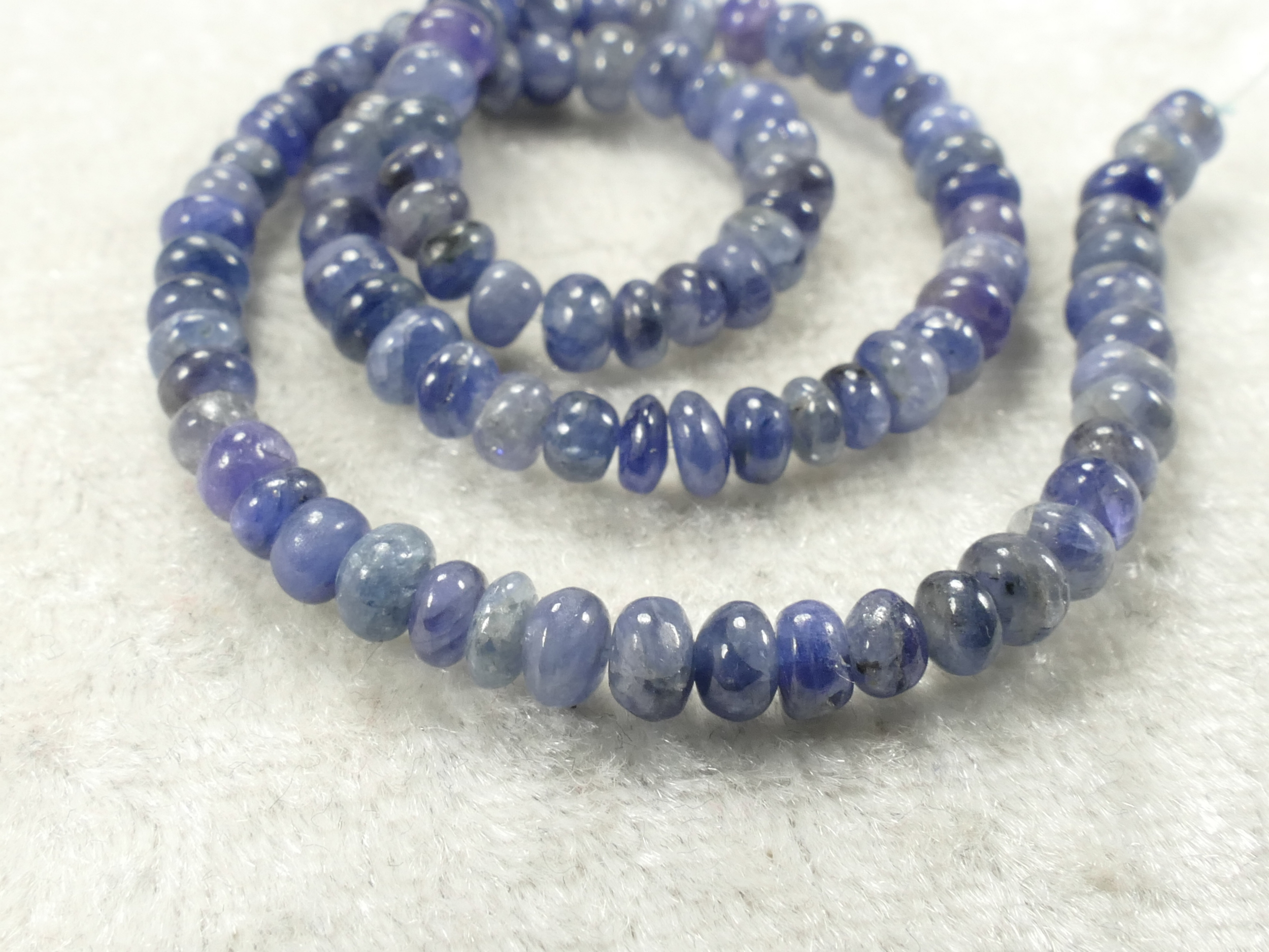 3.4/4.1mm Perles de Saphir bleu naturel en rondelle lisse x5cm (1.96inch) (#AC228B)