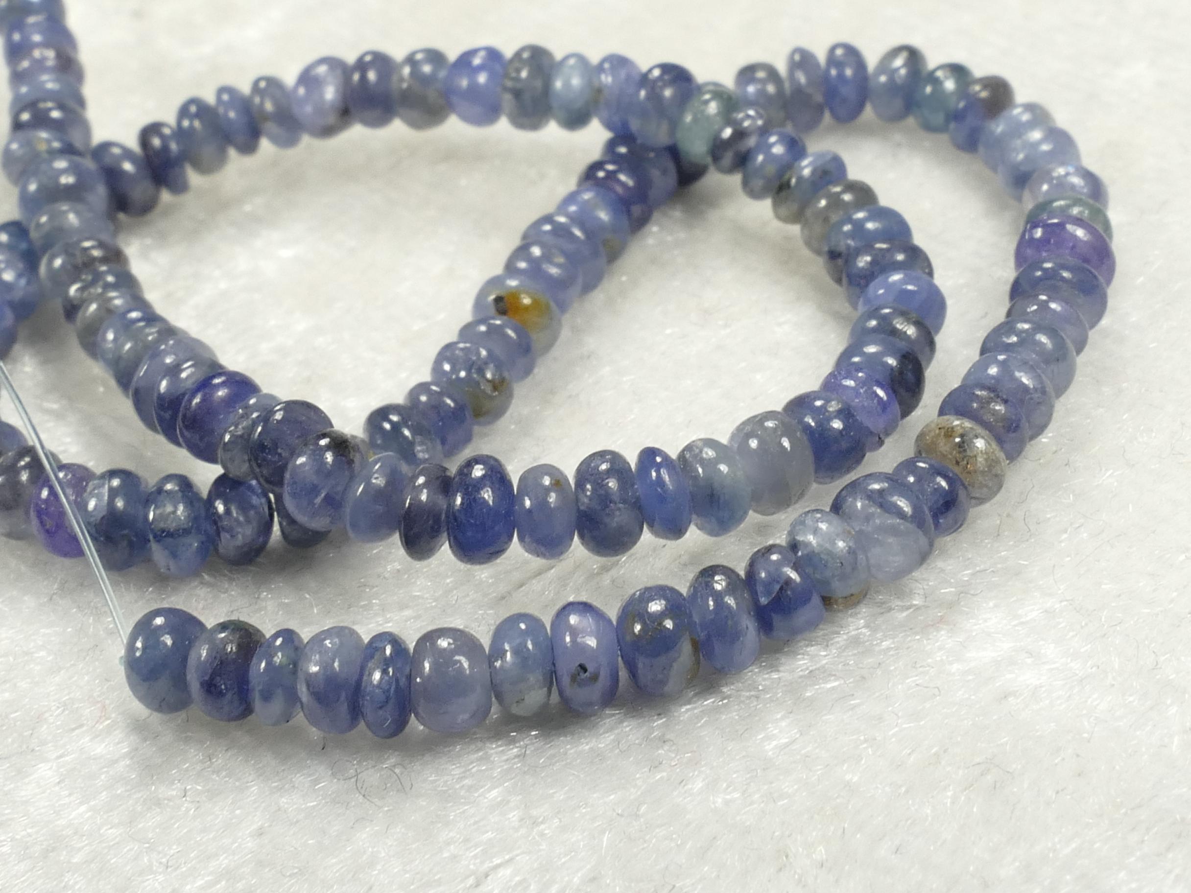 2.5/3.3mm Perles de Saphir bleu naturel en rondelle lisse x5cm (1.96inch) (#AC228C)