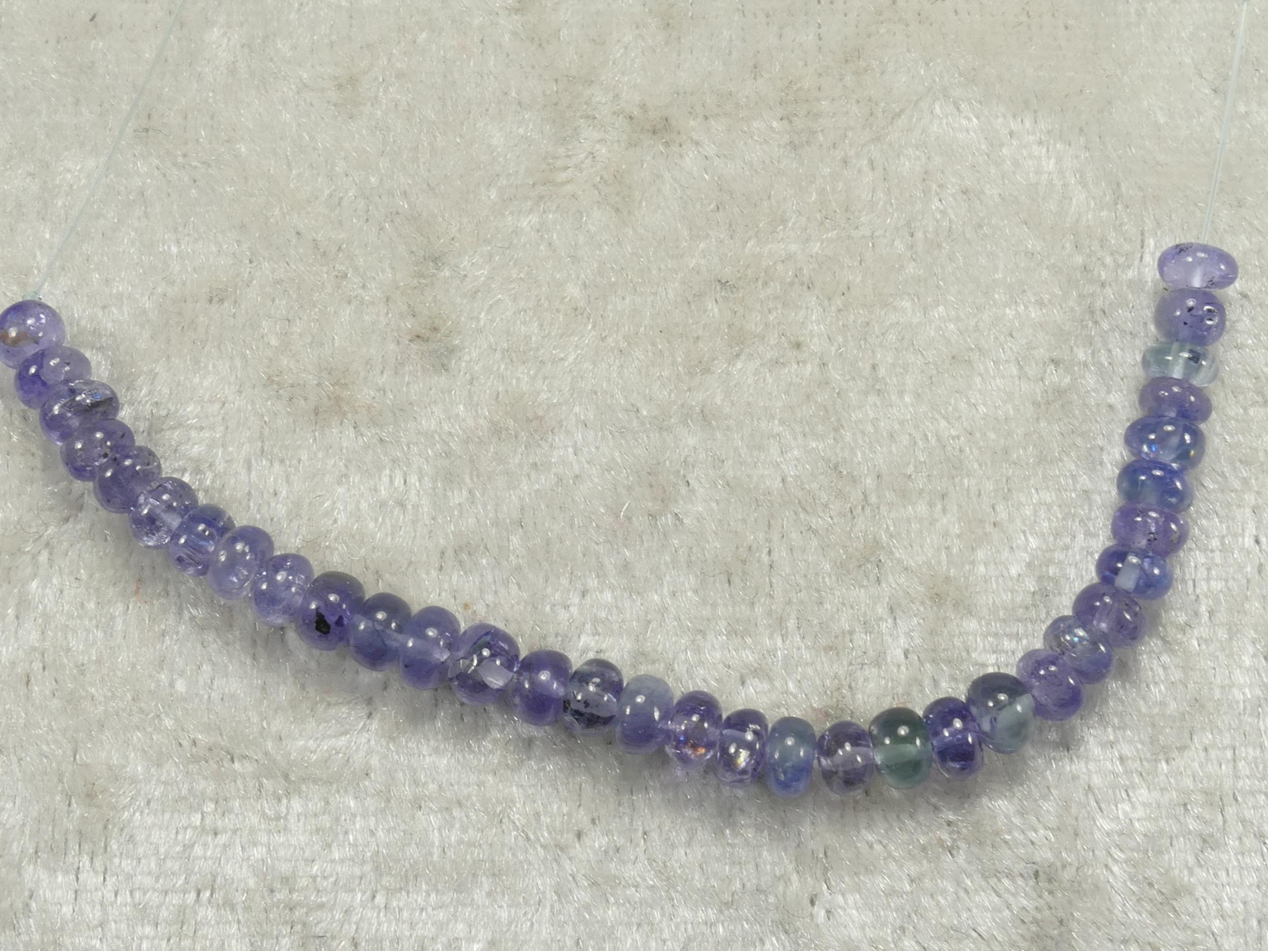 4/4.3mm Perles de Tanzanite naturelle en rondelle lisse bleu violet 8.5cm (3.34inch) (#PK813)