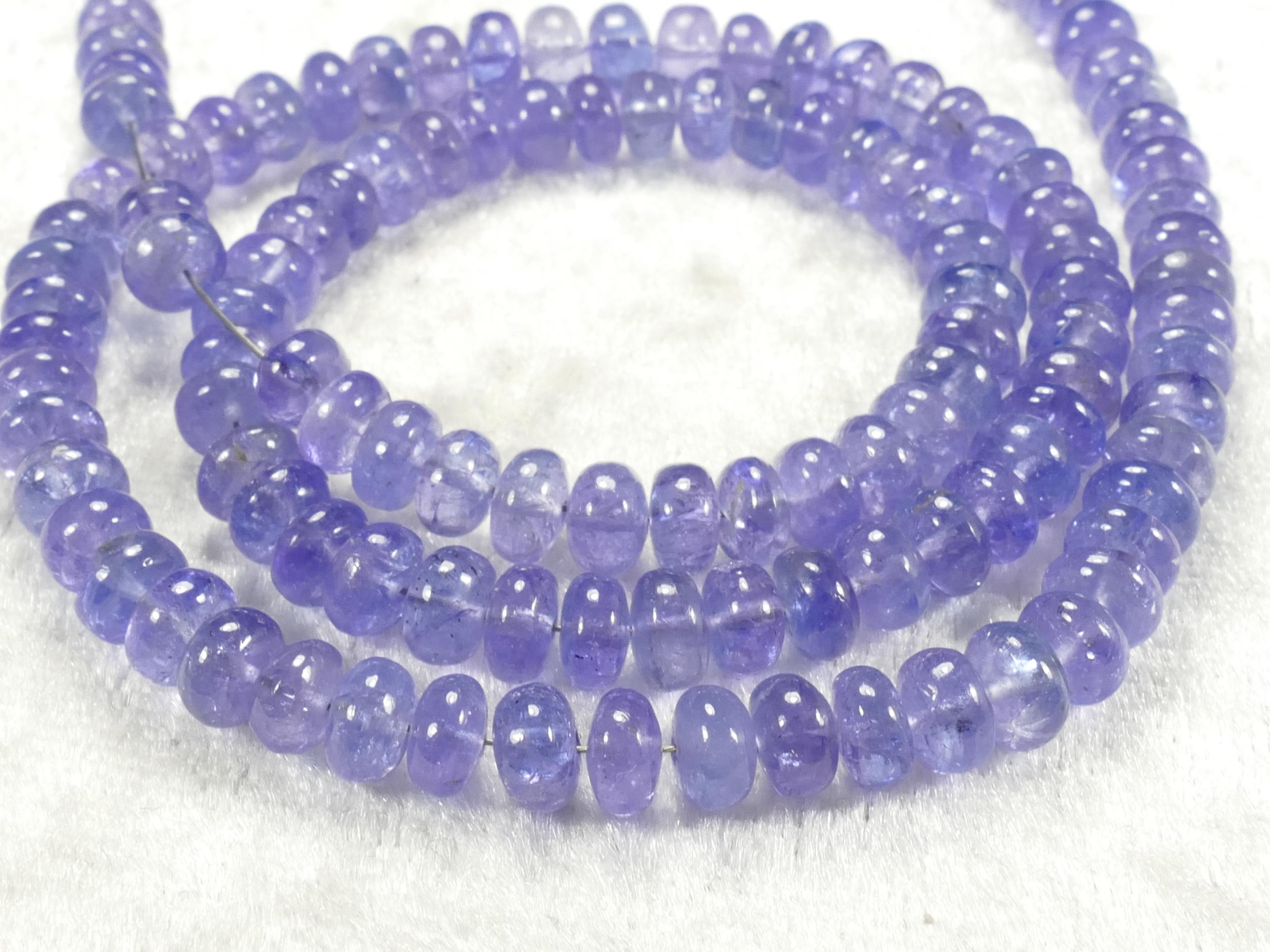 5.6/5.8mm x4 Perles de Tanzanite naturelle en rondelle lisse beau bleu violet (#AC566)