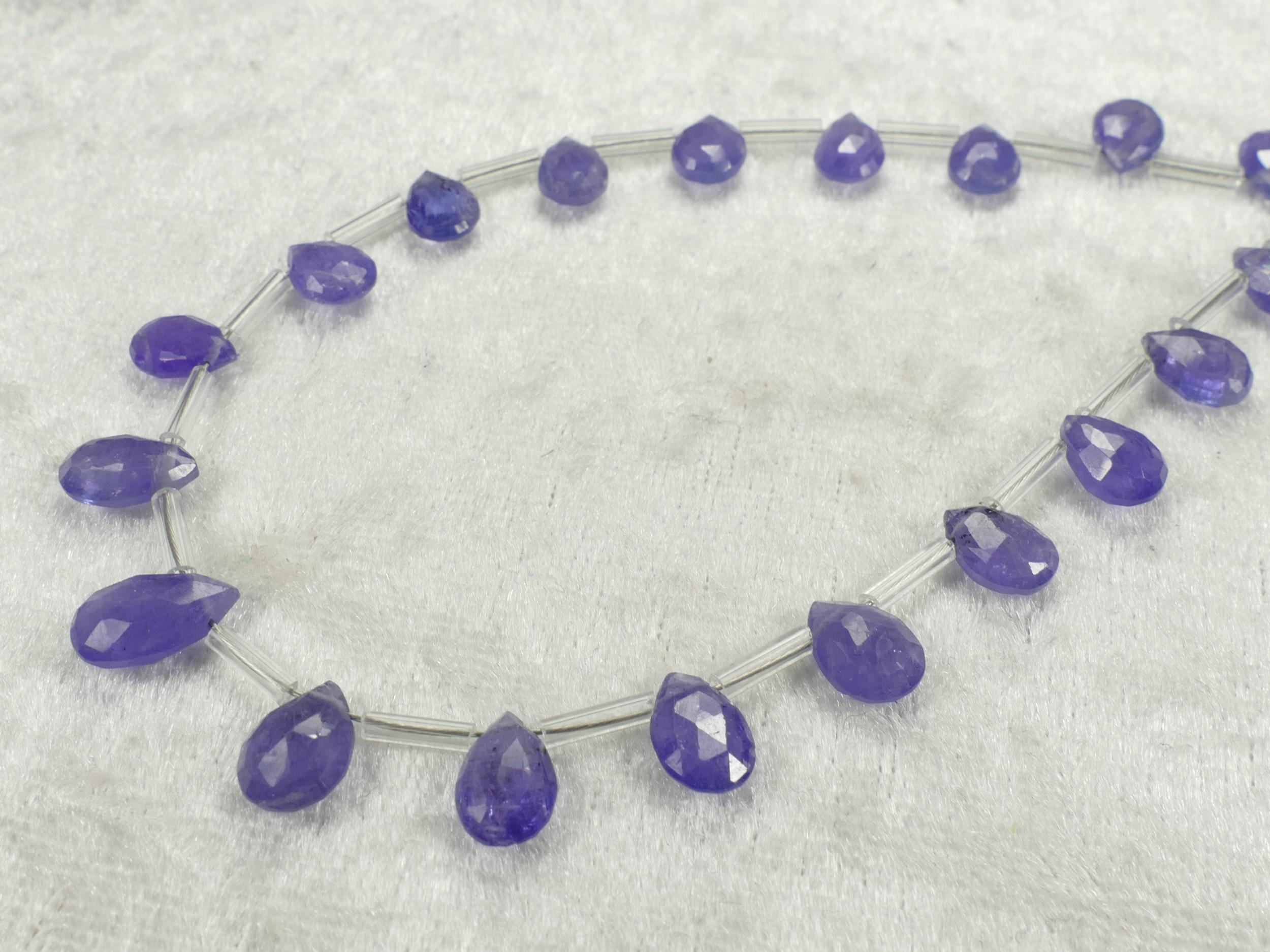 Lot de 20 perles de Tanzanite naturelle en goutte plate facettée beau bleu violet (#PK194)