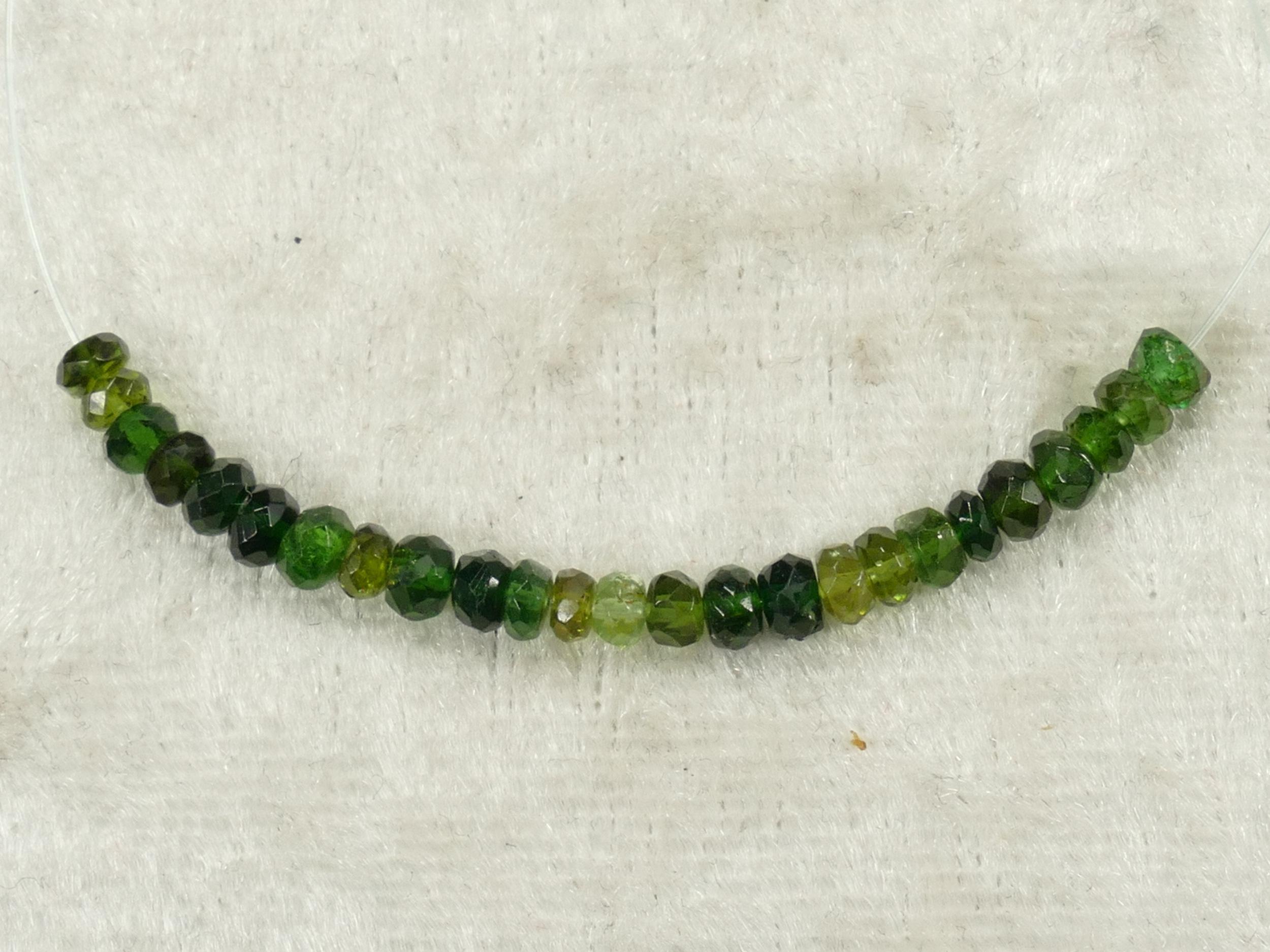 3.6/3.2mm Perles de Tourmaline naturelle Verdelite verte en rondelle facettée (#PK941)
