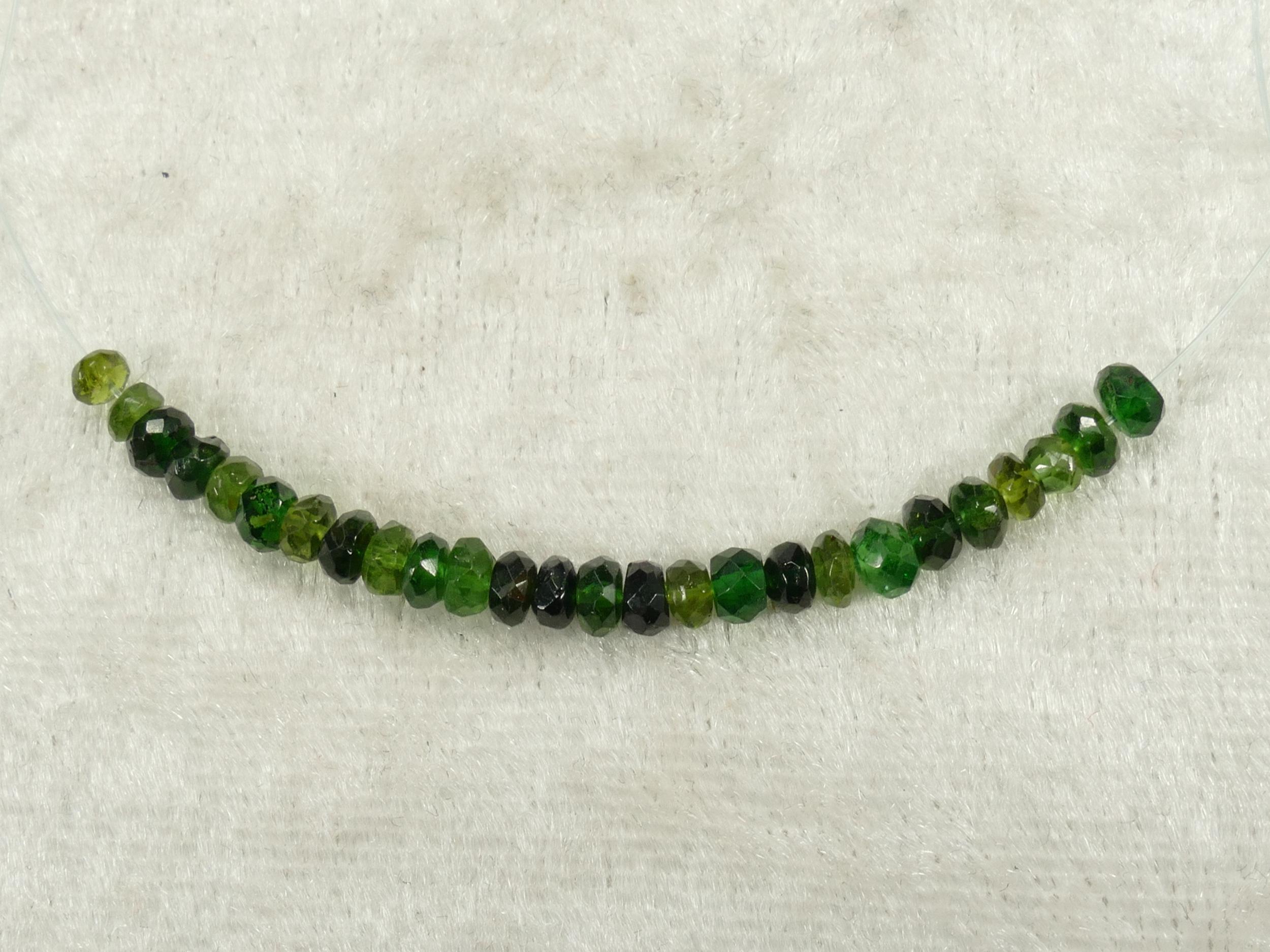 3.6/3.1mm Perles de Tourmaline naturelle Verdelite verte en rondelle facettée (#PK943)
