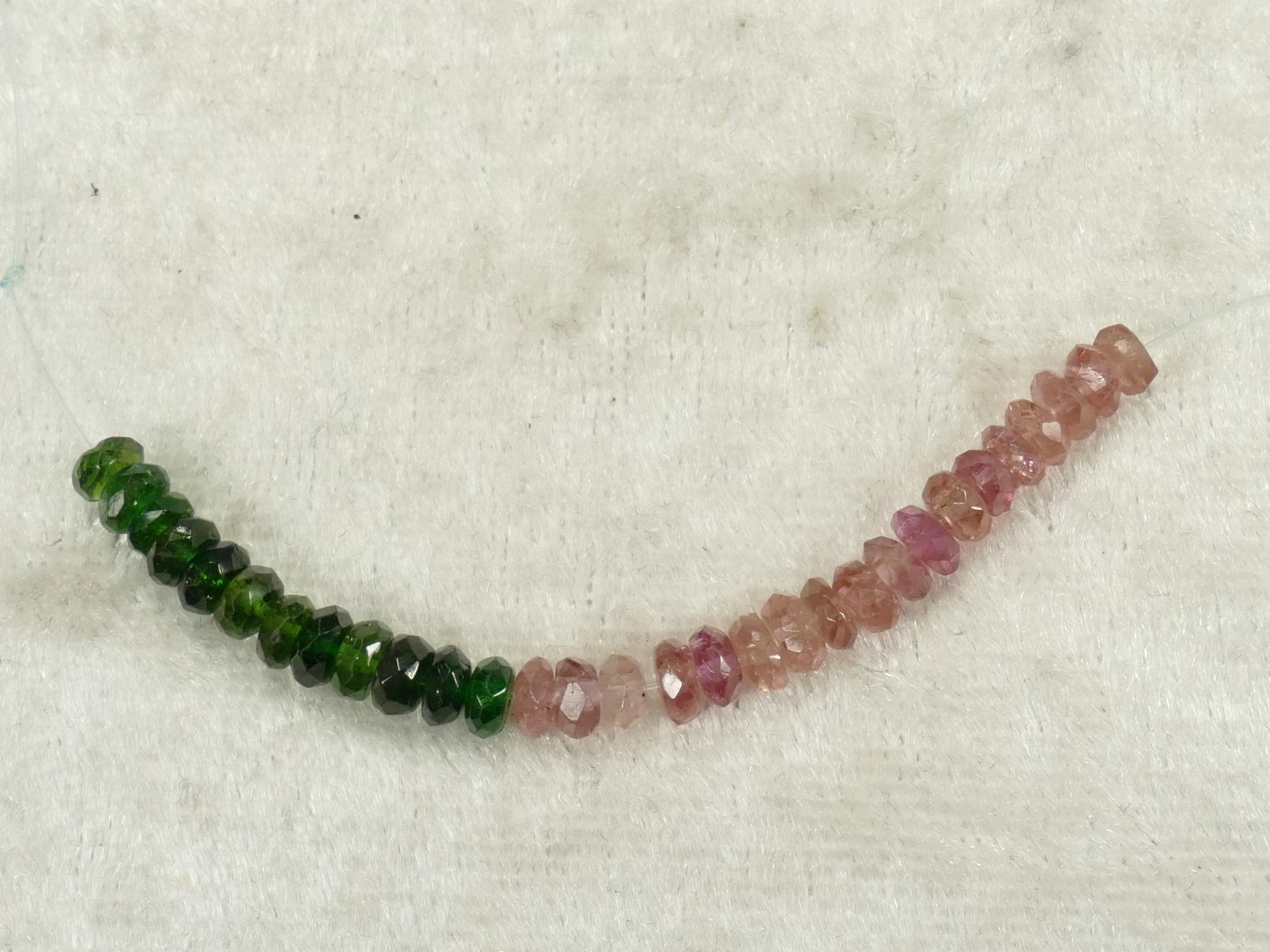 4.1/3.6mm Perles de Tourmaline naturelle mix Verdelite et Rubellite verte rose en rondelle facettée (#PK942)