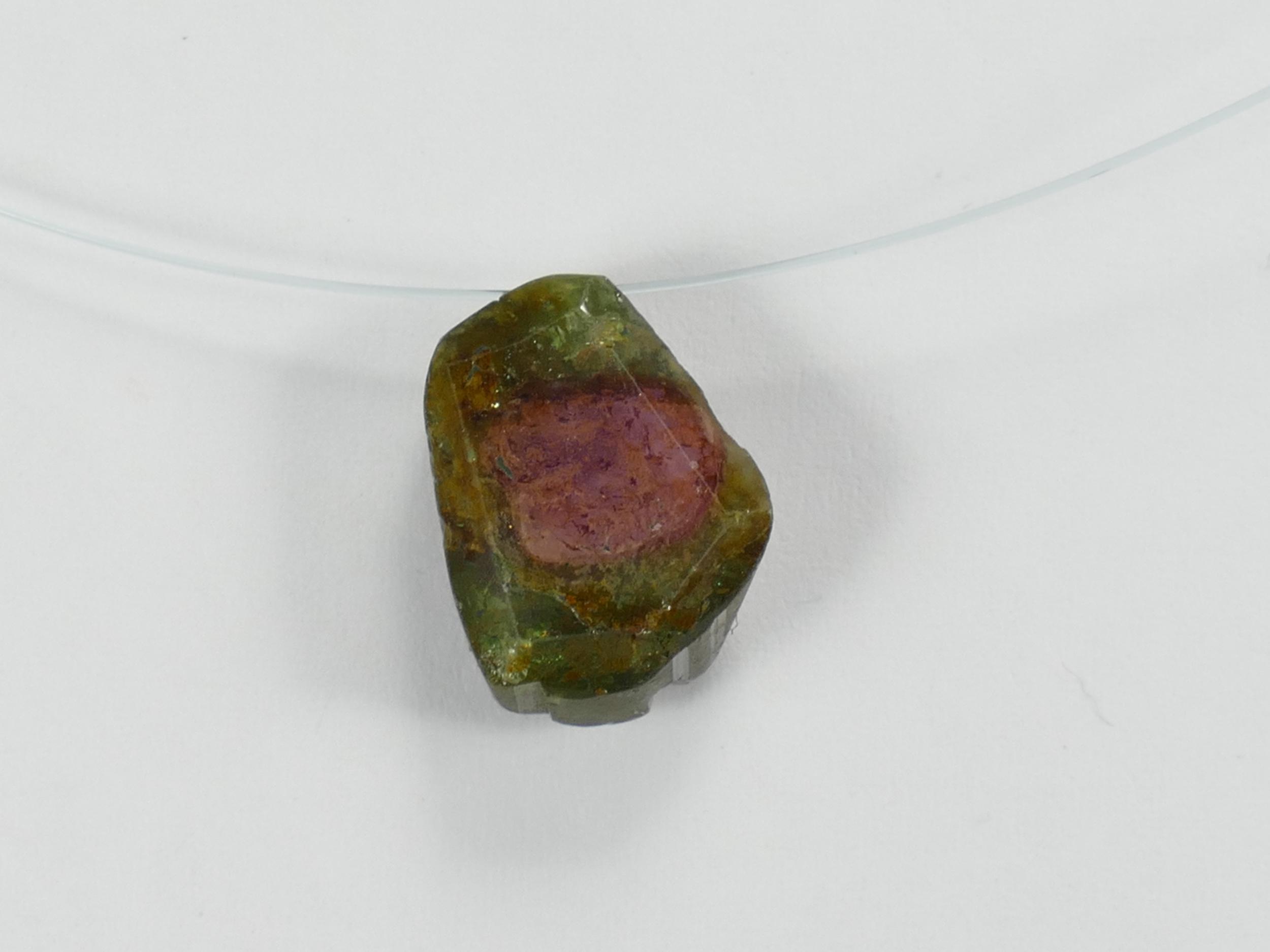 13,7mm Perle de Tourmaline naturelle brute et facettée 7,35ct bicolore vert rose melon d\'eau Brésil (#PK124)