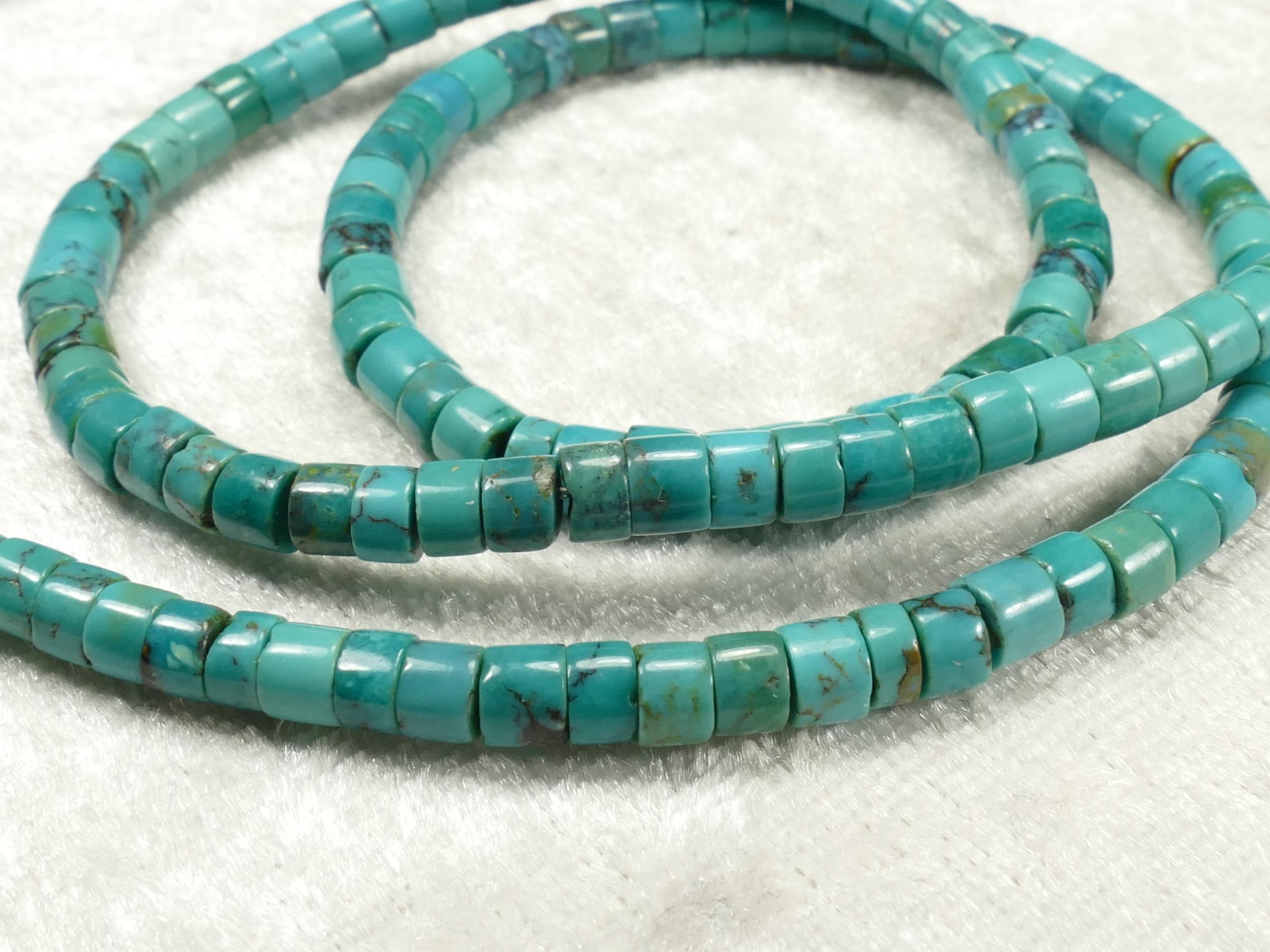 4/4.3mm Perle de Turquoise naturelle de Chine en tube lisse court x10cm (3.9inch) (#AC671)