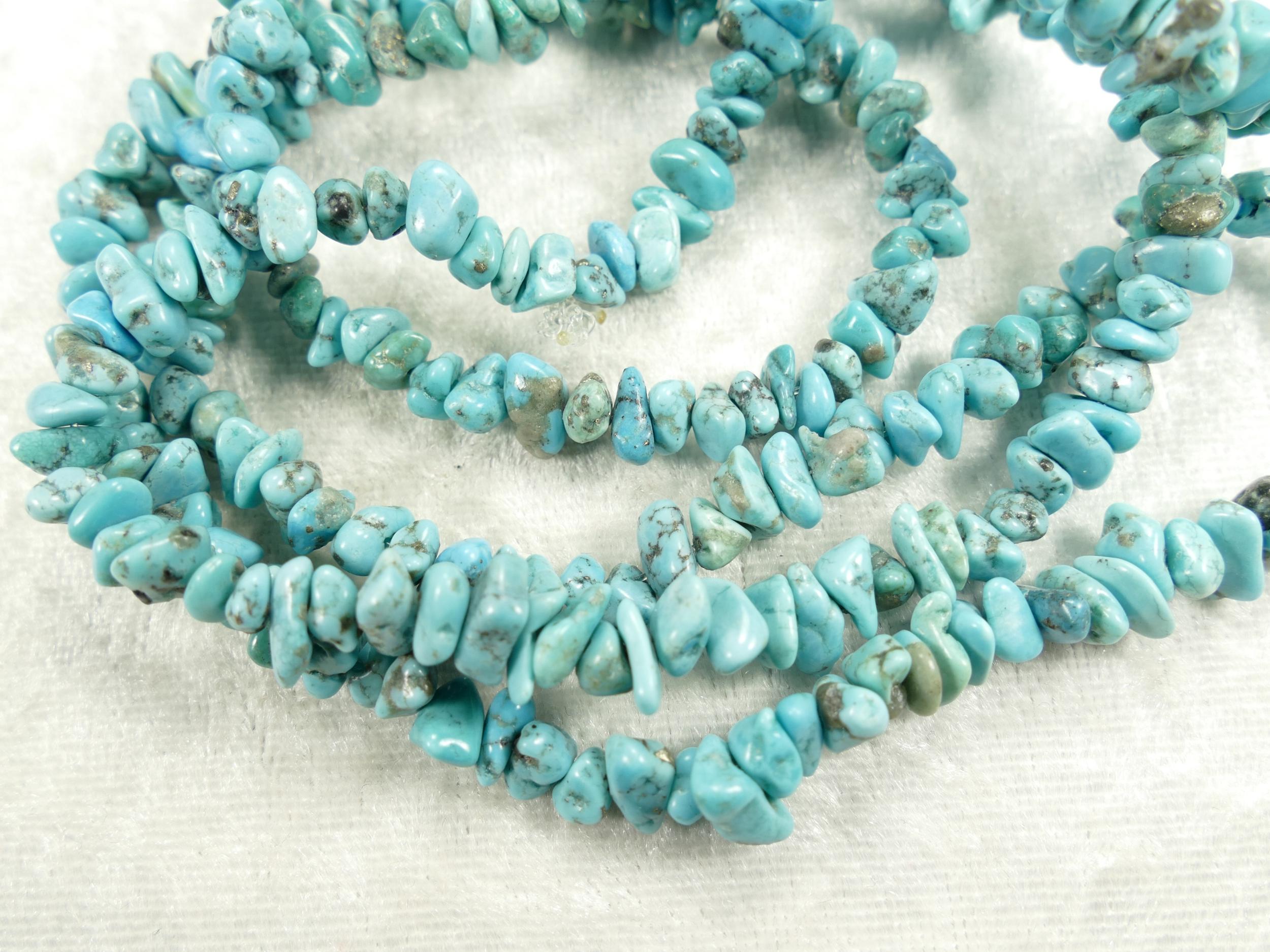 5/8mm Perles de Turquoise bleue brute roulée d\'USA corde mélangé (#AC666)