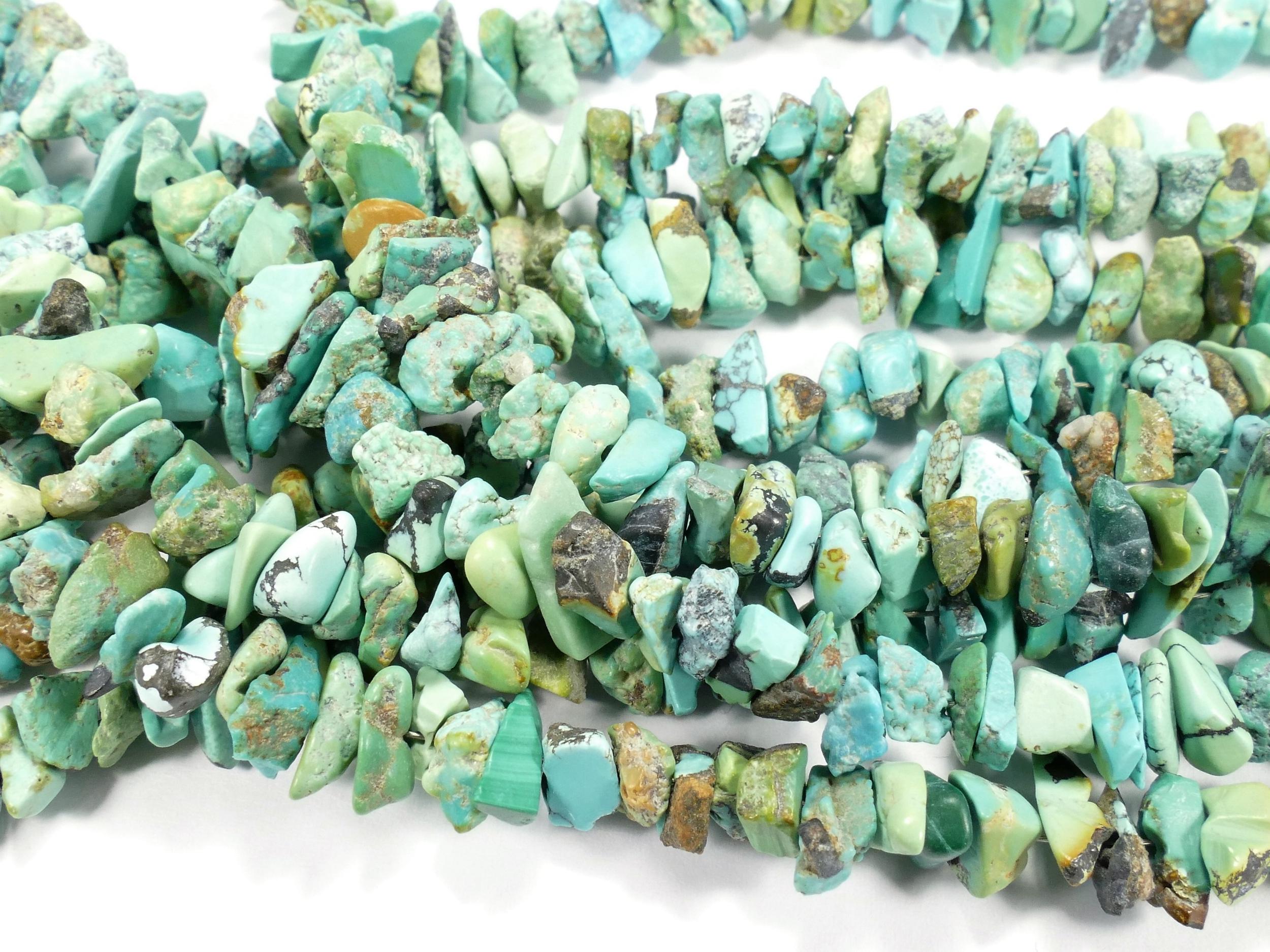 4/8mm Perles de Turquoise naturelle brute/roulé du Tibet tonalité vert/bleu/brun x20cm (#AC563)