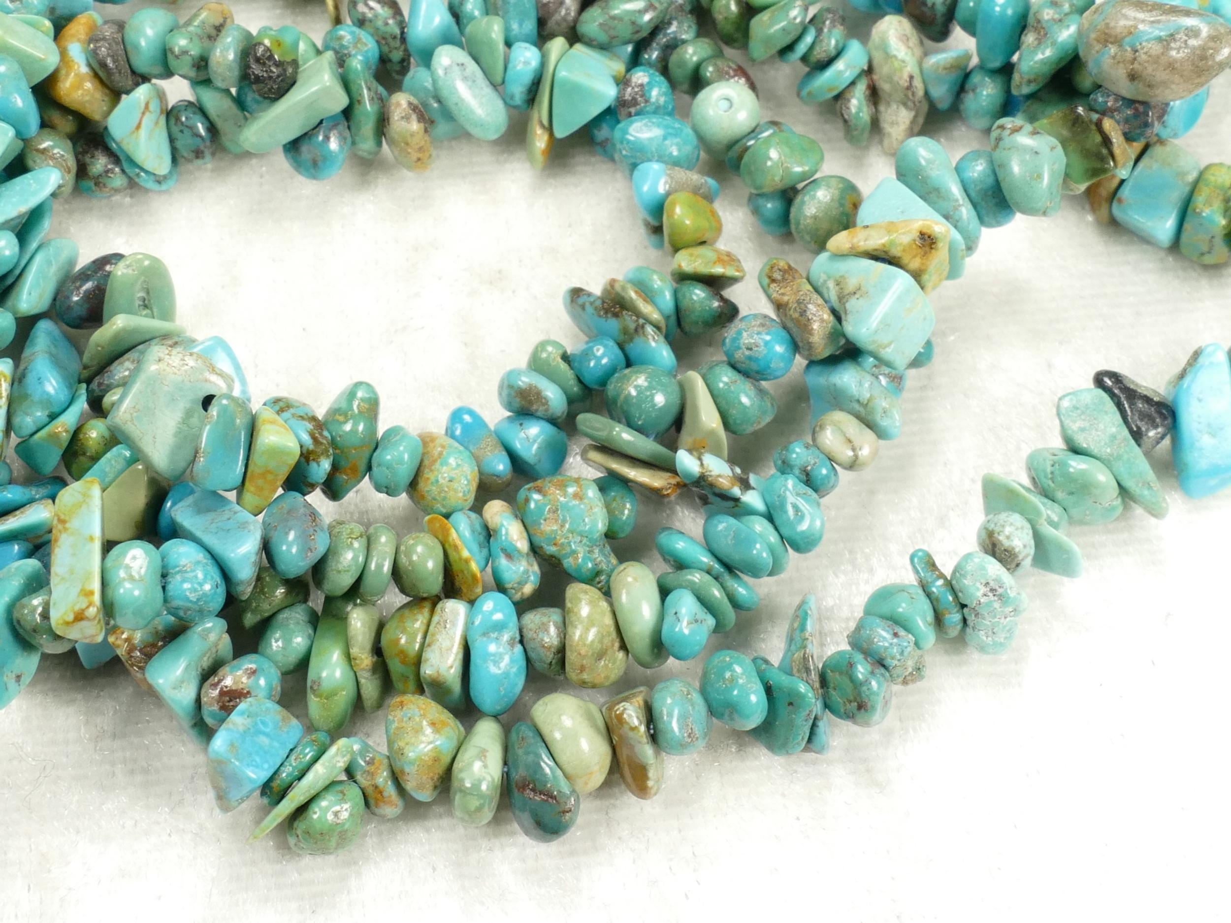 4/9mm Perles de Turquoise brute roulée de Chine & Tibet corde mélangé x40cm (15.7inch) (#AC494)