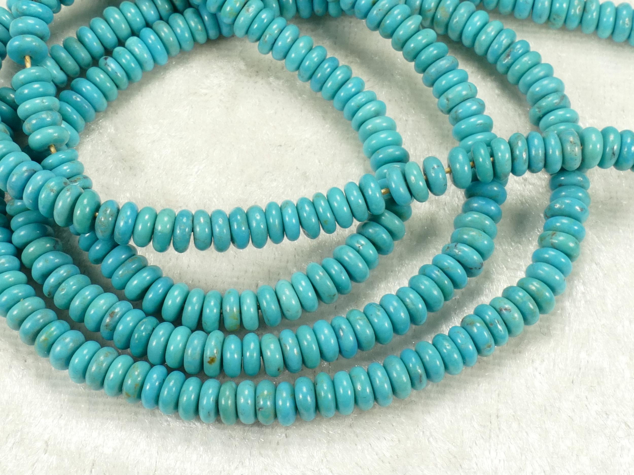 4.5/4.8mm Perle de Turquoise vert / bleu naturelle de Chine en rondelle lisse x5cm (1.96inch) (#AC477)