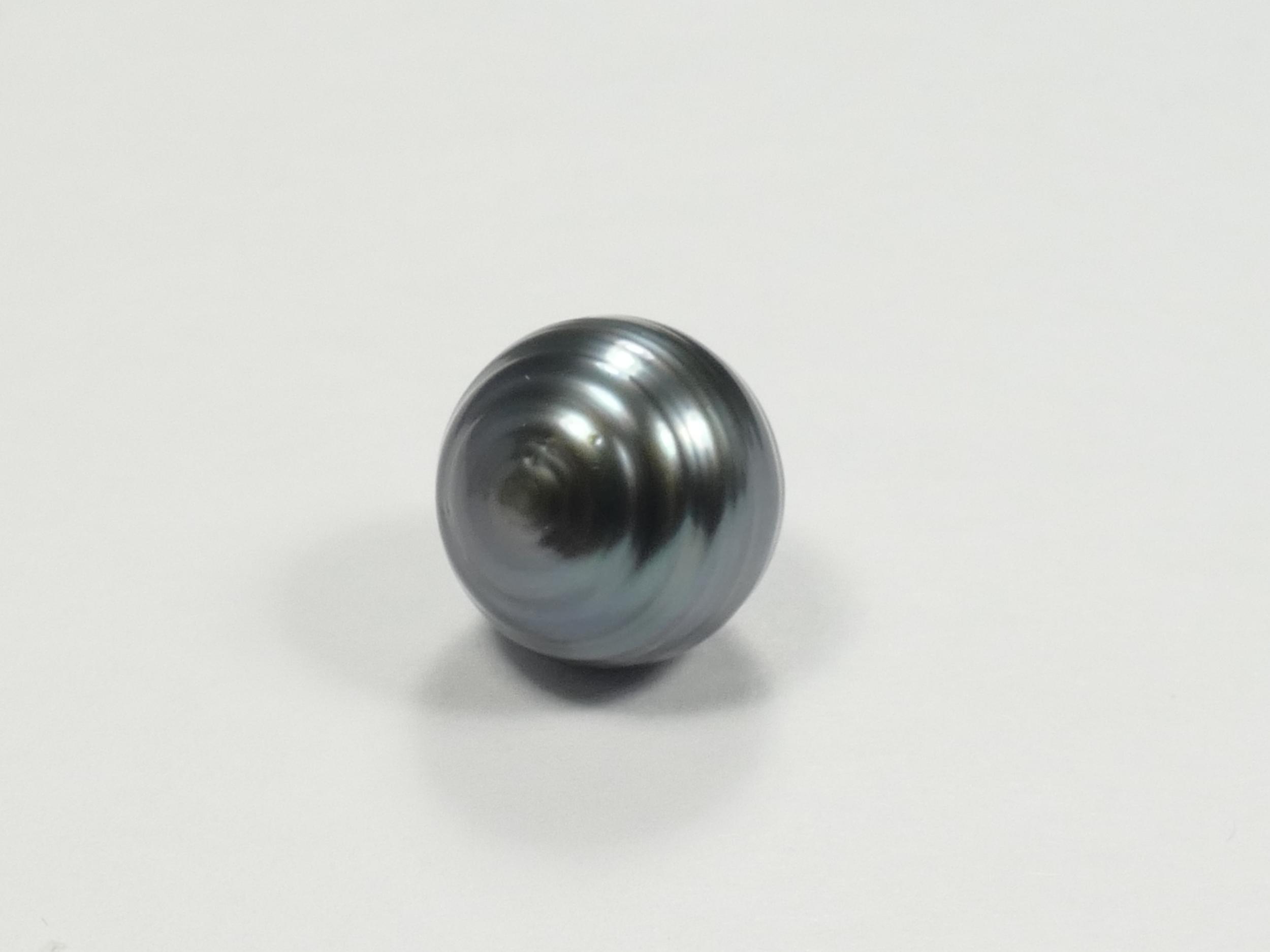 10/11mm Perle de culture de Tahiti cerclée et percée, gris bleu, qualité B/C (#PB225)