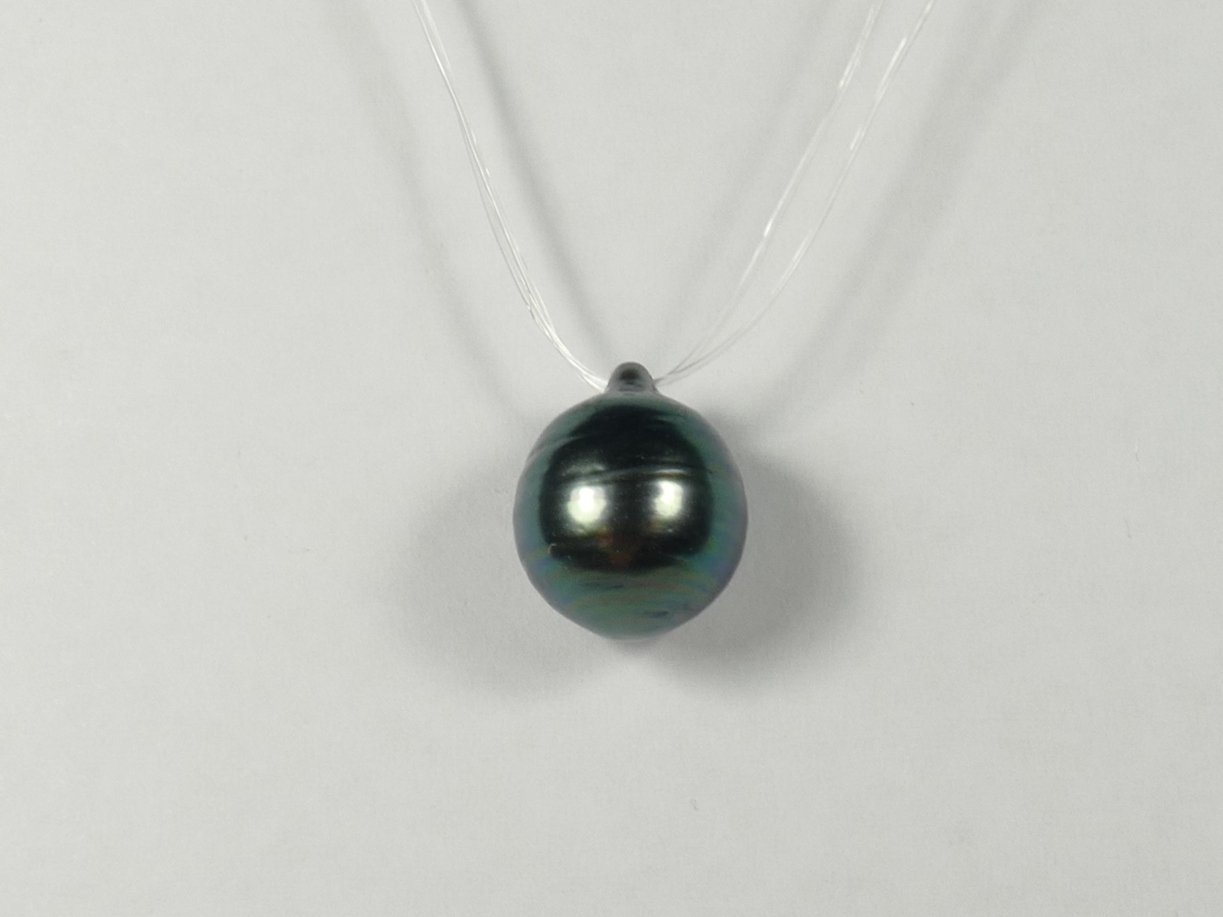 10mm Perle de culture de Tahiti cerclée et percée bleu/vert qualité B/C (#PB223)