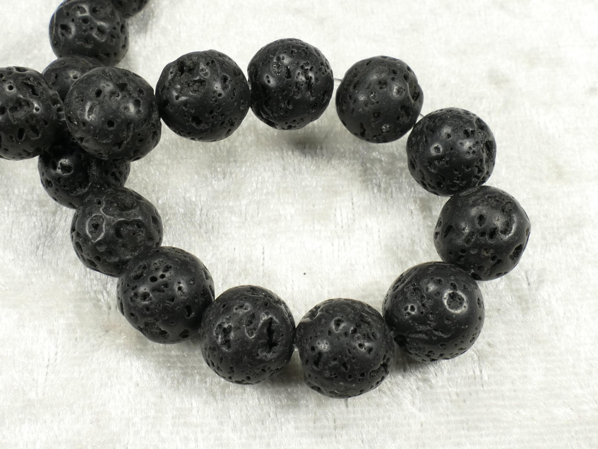 10.6mm x16 Perles de Lave naturelle taillée en boule/ronde (#AC504)