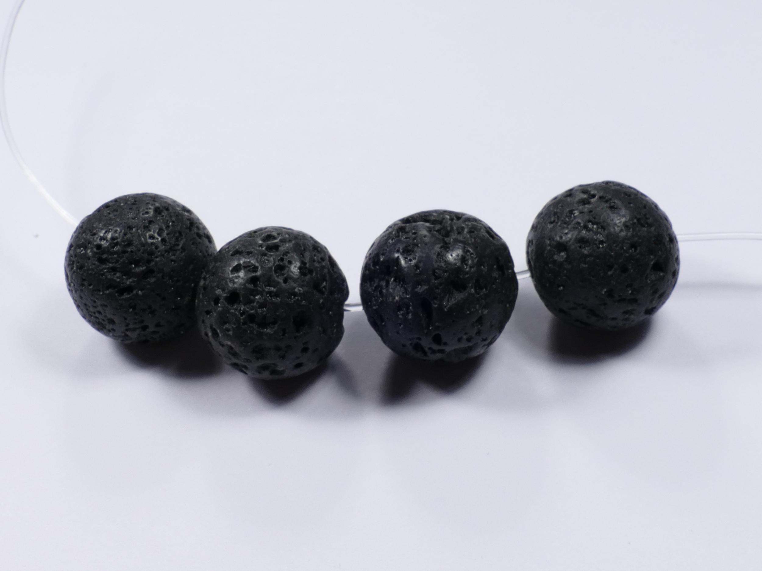 18mm x8 Perles de Lave naturelle en boule/ronde (#AC110)
