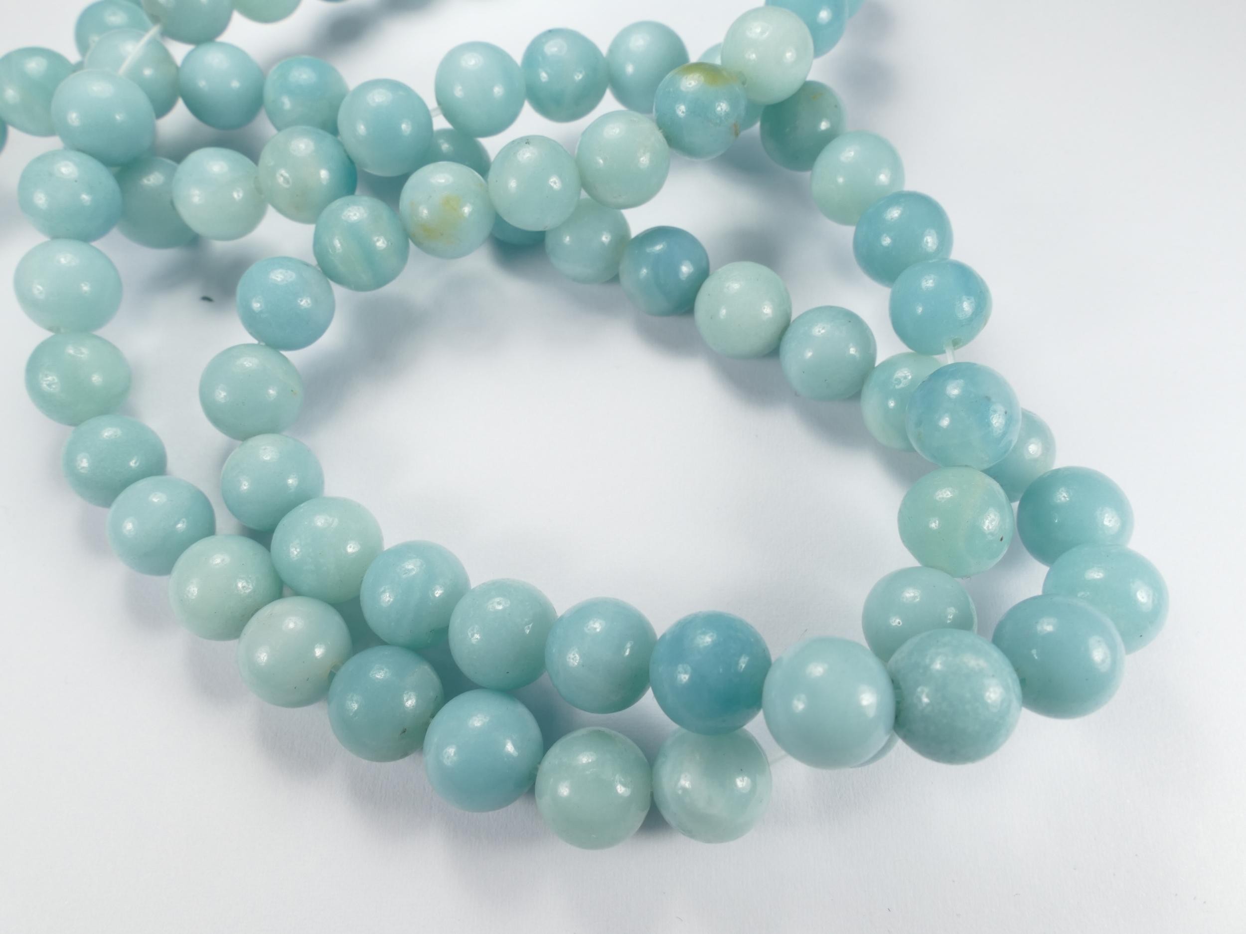 8.2/8.6mm x10 perles d\'Amazonite naturelle en boule / ronde Chine (#AC736)
