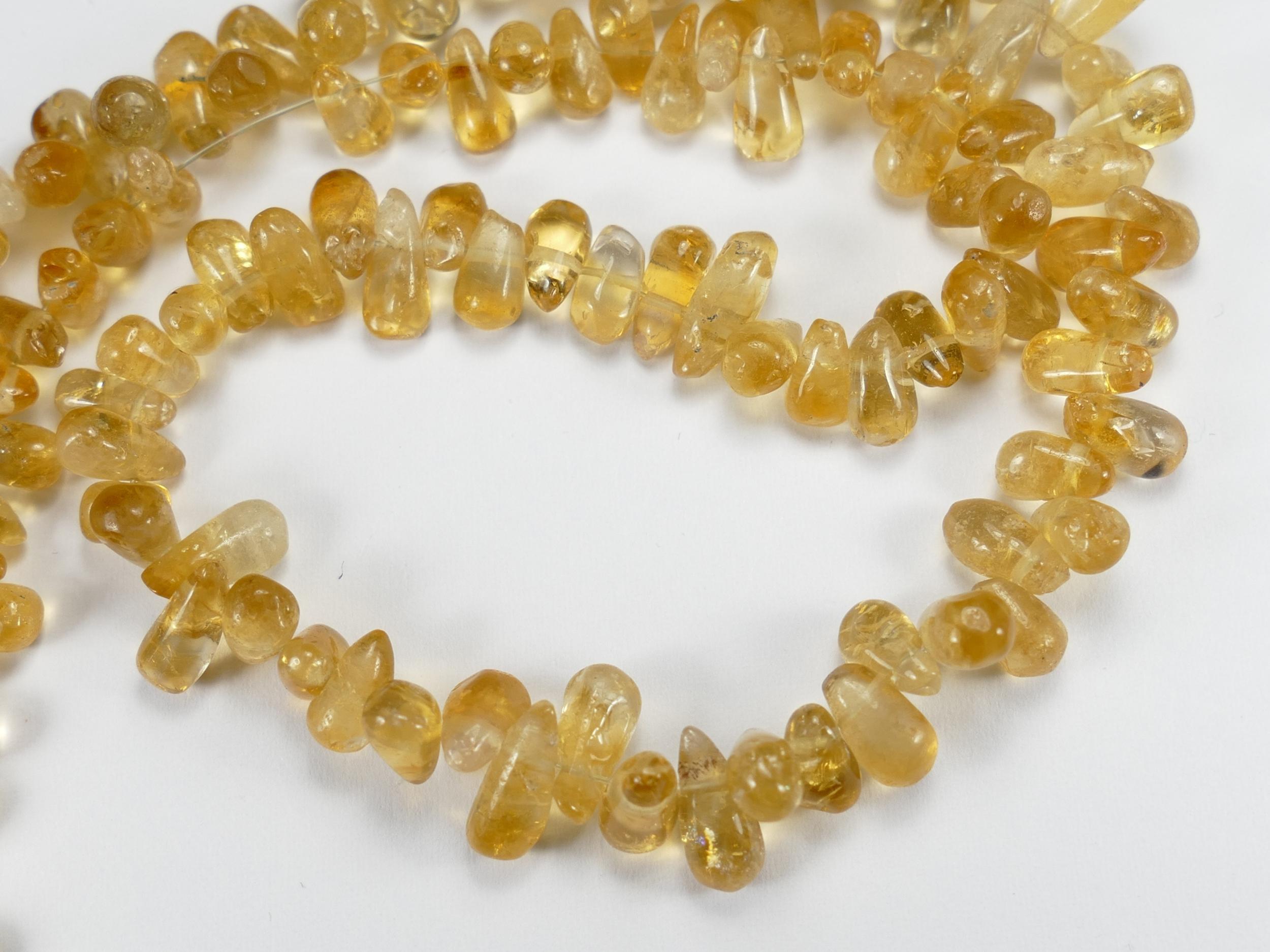 6/9mm Perles de Citrine en briolette roulée percée du Brésil x10cm (3.9inch) (#AC745)