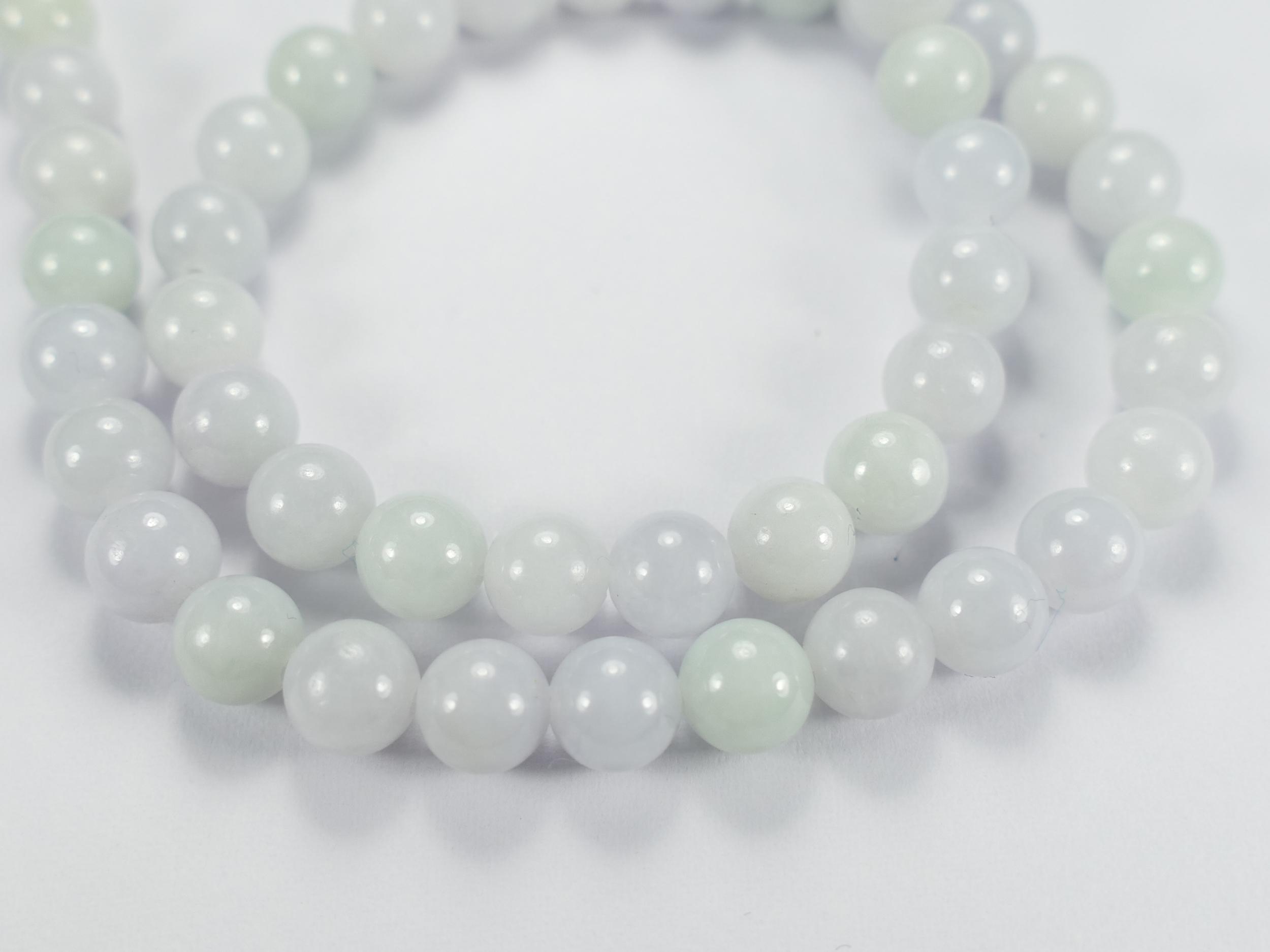 6.1mm x8 Perles de Jade jadéite naturel en boule / ronde de Birmanie Myanmar vert / lavande très léger (#AC731)
