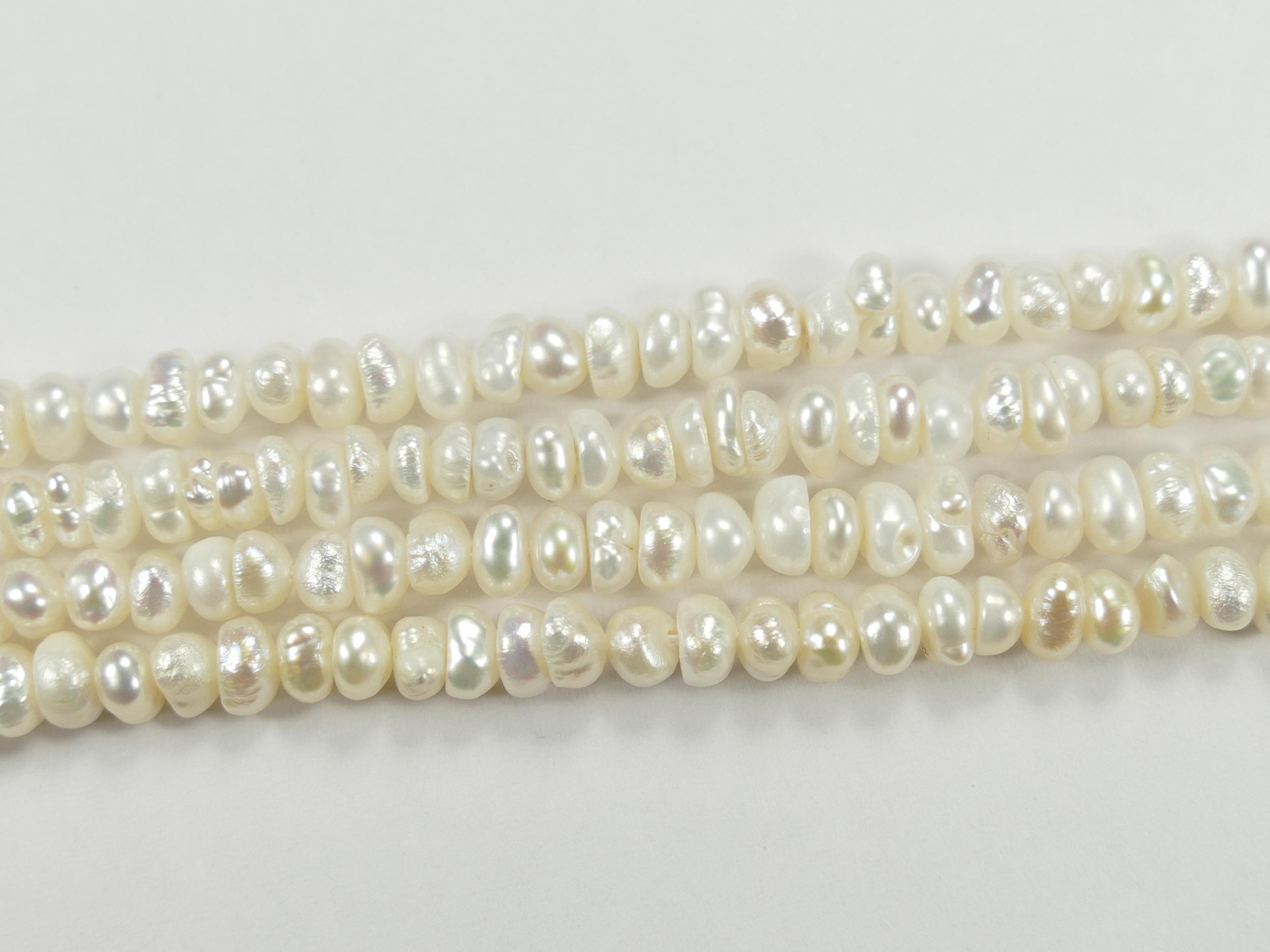 4/4.5mm Perle de culture blanche nacré doré naturelle d\'eau douce bouton x20cm (7.8inch) (#AC750)