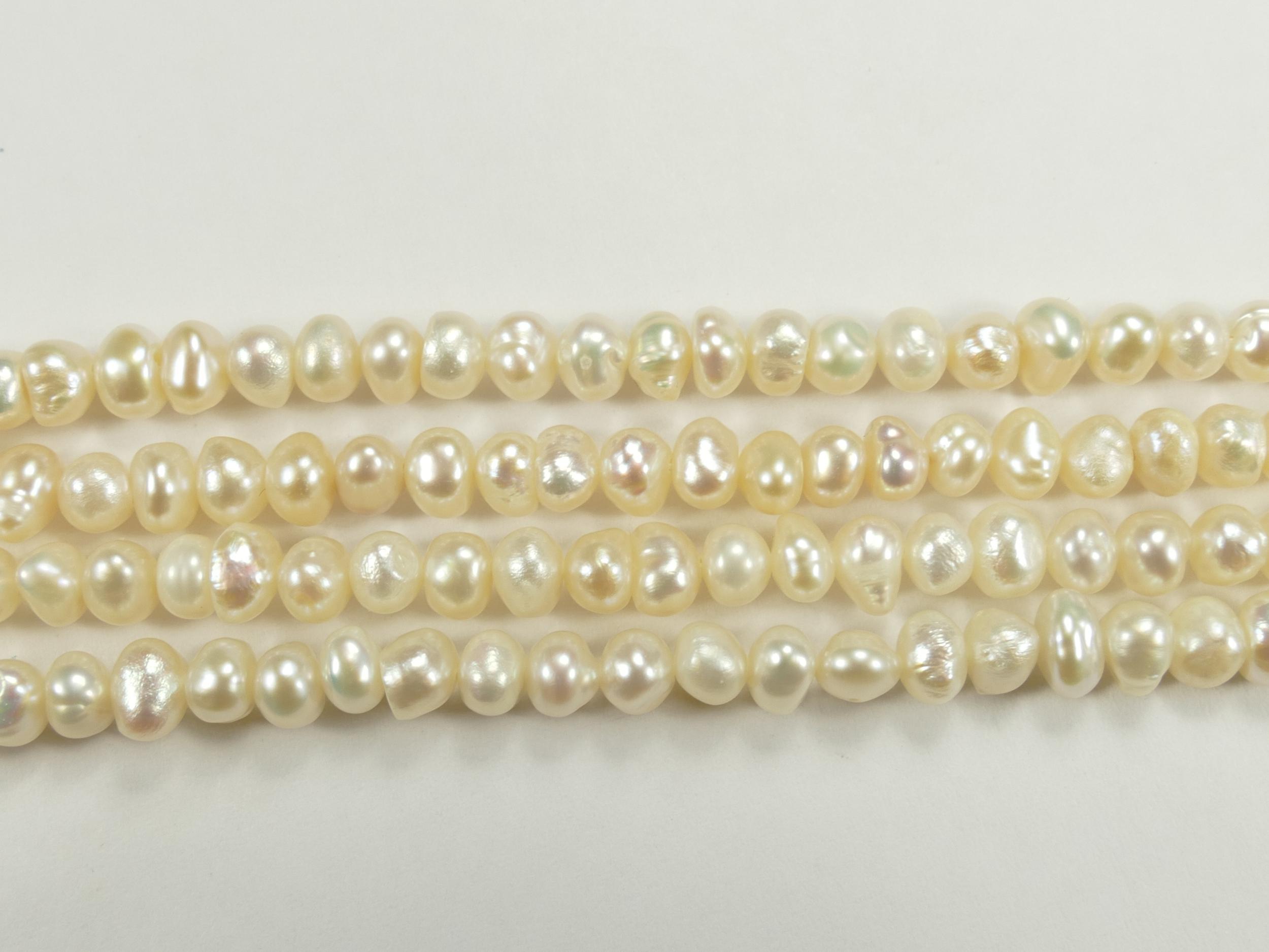 4.3/4.8mm Perle de culture couleur ivoire léger naturelle d\'eau douce patate x20cm (7.8inch) (#AC751)