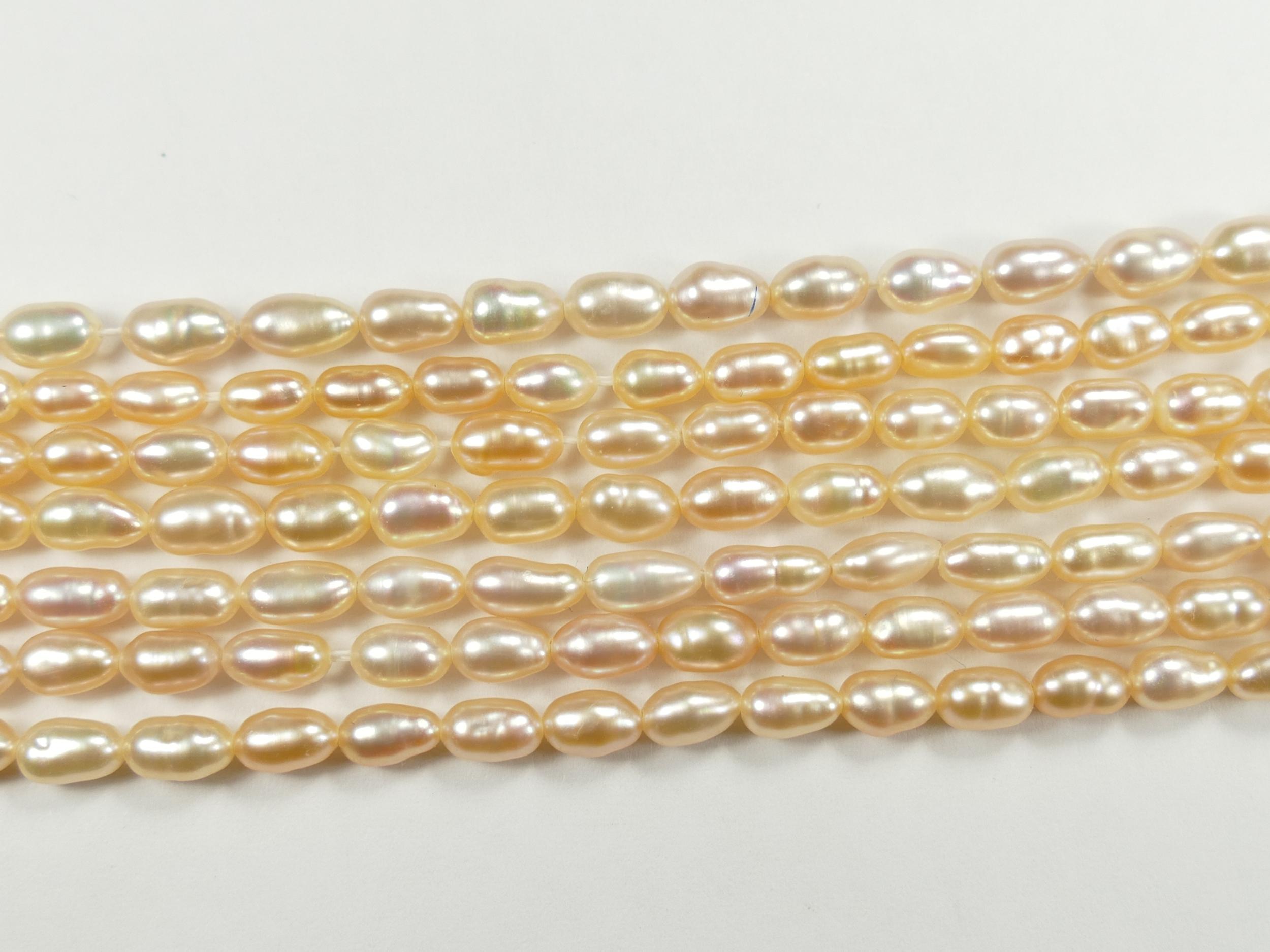 3.3/4mm Perle de culture couleur rosé lilas naturelle d\'eau douce ovale riz x20cm (7.8inch) (#AC604)