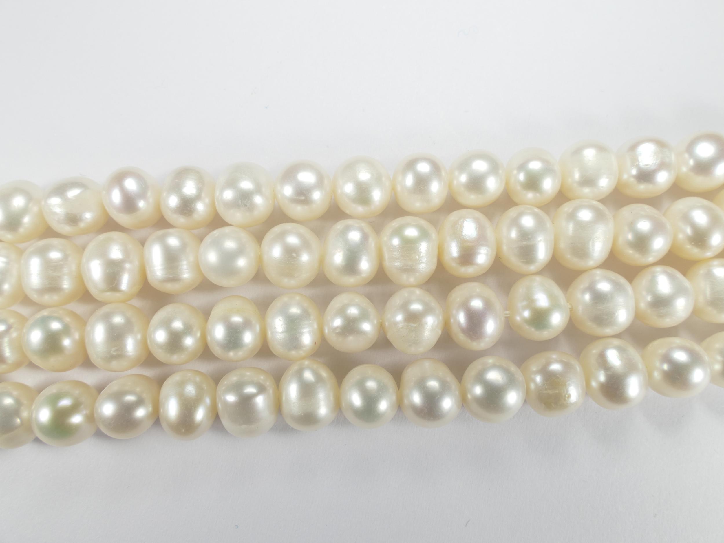 6/7mm Perle de culture blanche naturelle d\'eau douce patate ovale x20cm (7.8inch) (#AC602)
