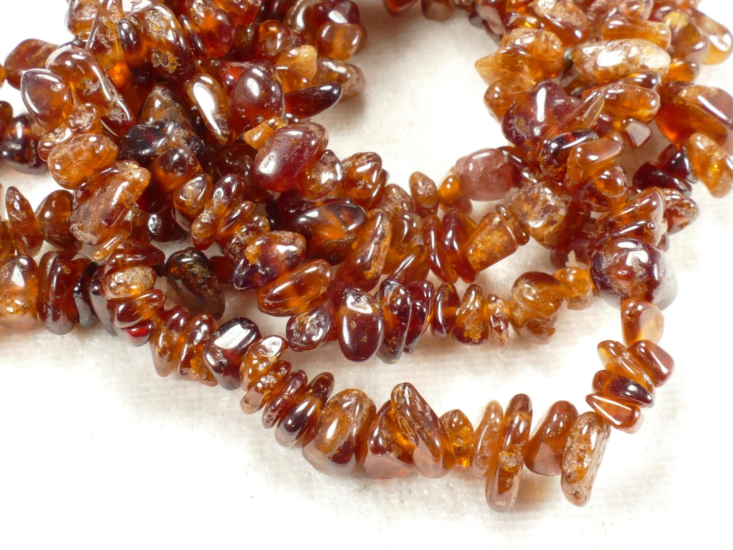 4/8mm Perle de Grenat Hessonite naturel orangé brute roulée d\'Afrique (#AC484)